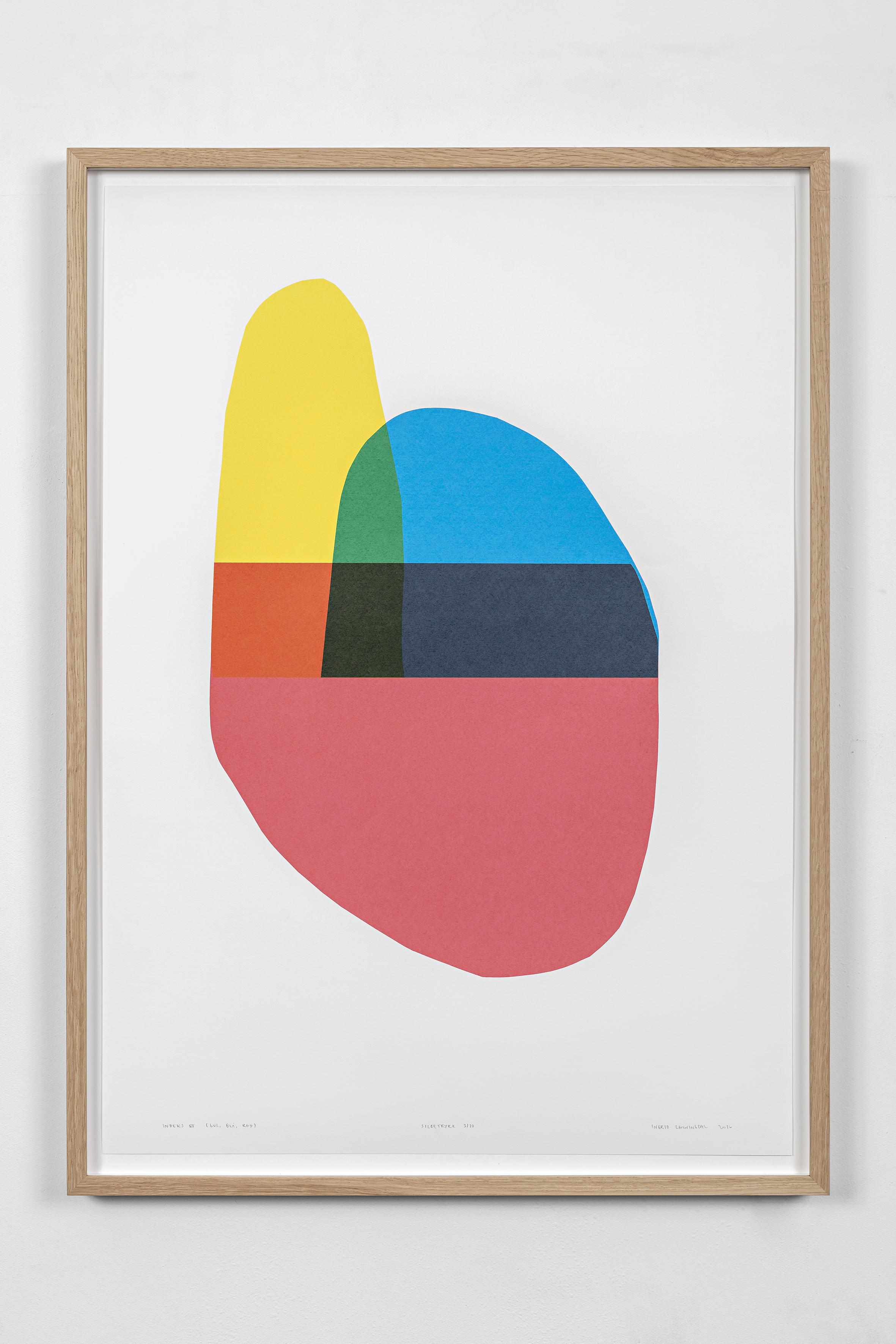 Indeks VI (gul, blå, rød), screen print, 72 x 52 cm, 2016. Photo: Vegard Kleven