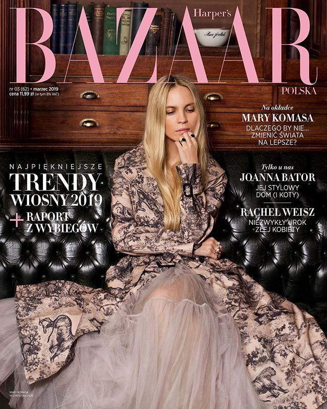 What do you think this week brings?  Stunning @marykomasa for @harpersbazaarpolska Cover Editorial shot in Berlin  shot by @maxvomhofe @schierkeartists  styling by @kara_becker  hair/make-Up by @agawilkmakeup prop styling by @individual.interior.design @liganord_agency  production by @hellokejti