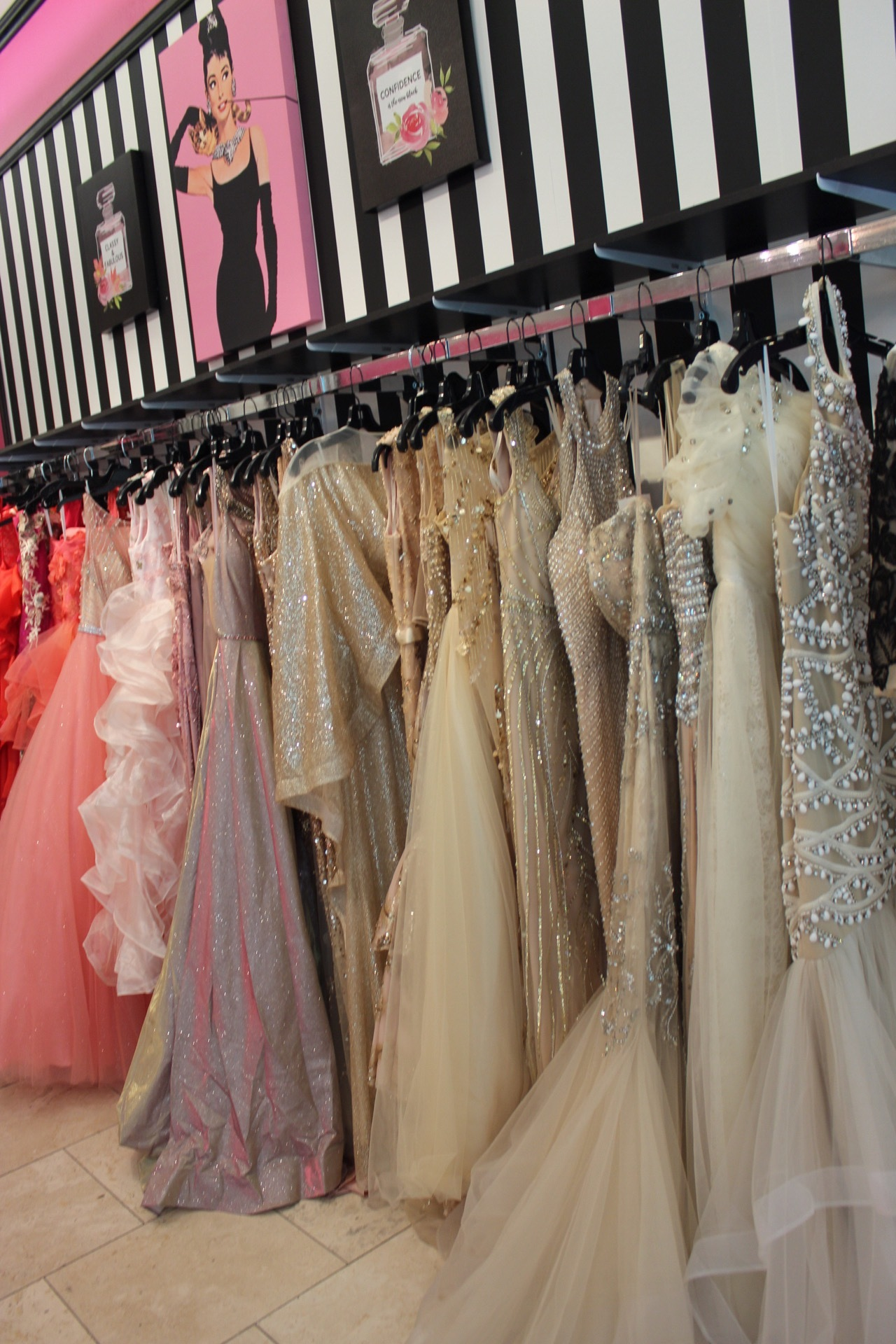 We carry a large array of dresses that will work for many different occasions from pageants to proms and more!