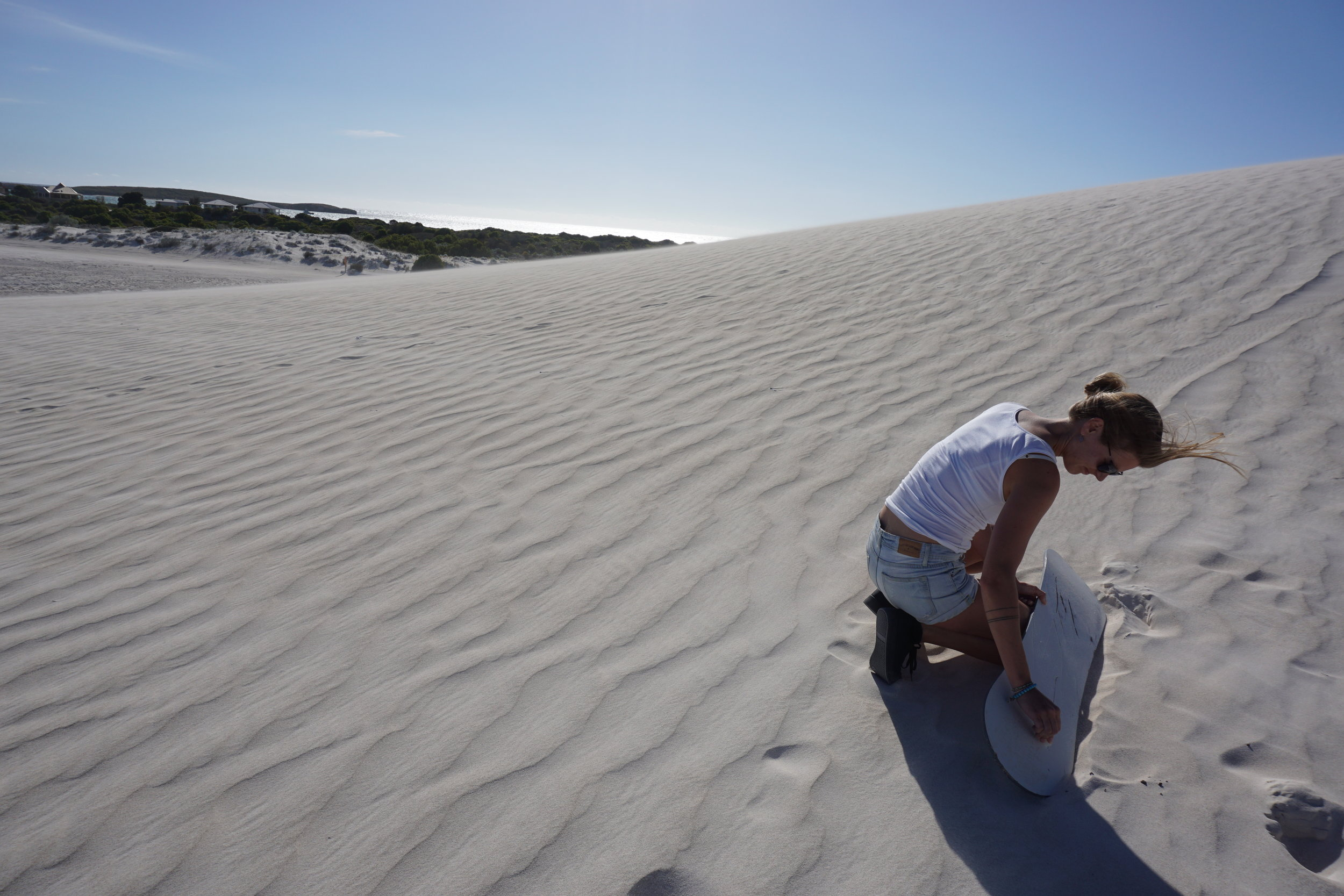 Sandboarding Lancelin, Western Australia