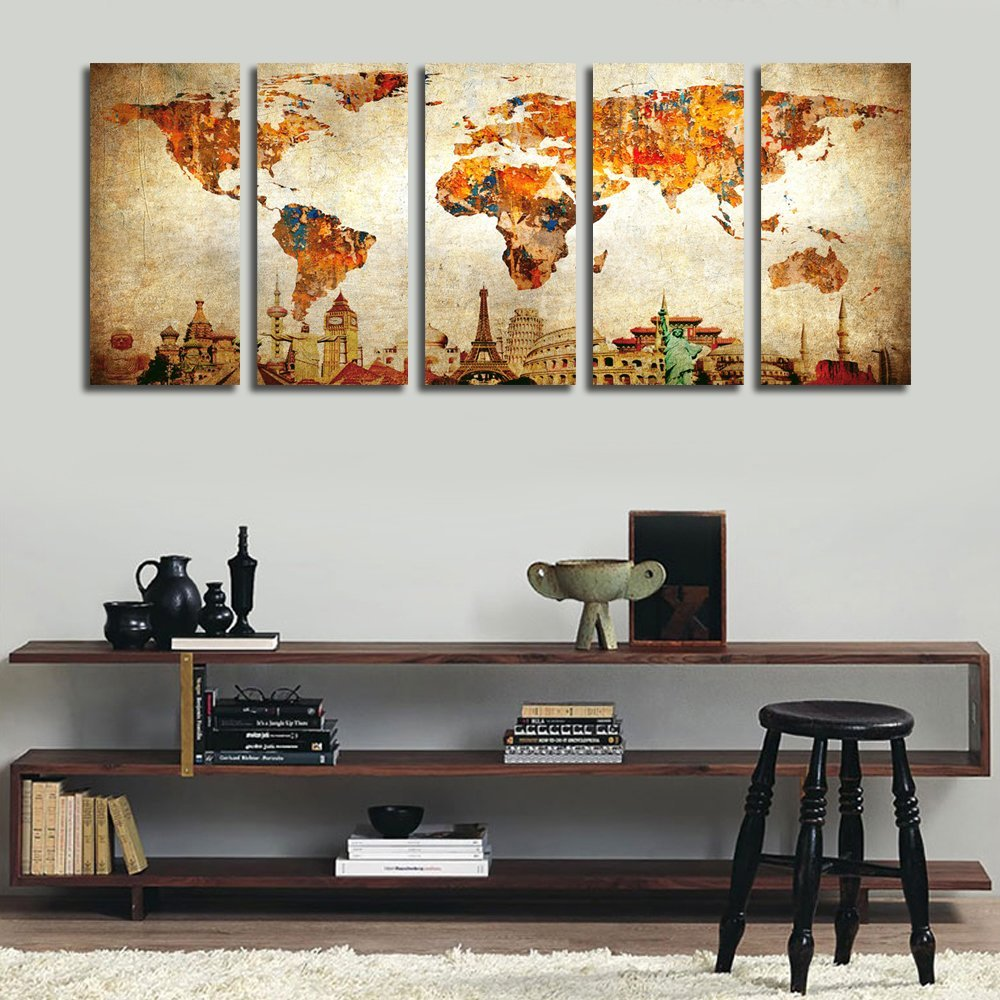 5 pieces worldmap - Picture this 5 piece canvas above your couch and dream of your next travel destination. Love it!