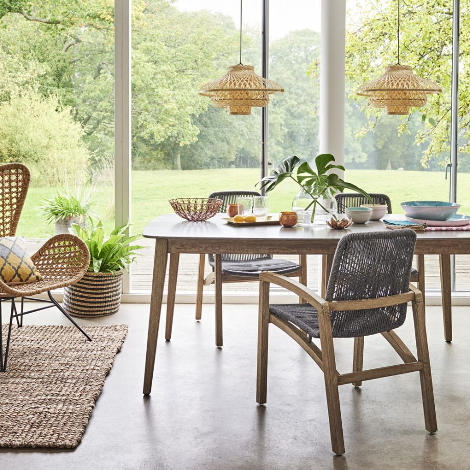 TEXTURE & LIGHTER TONE WOOD - Artisan texture is the perfect touch to any space and has definitely made its mark this year. I am all about that tactile love! Texture is vital in design—it's not a new thing, so rest assure it's not going anywhere! With that said, we're seeing more natural, handmade feel woods: raw and embellished texture used in many objects, such as pillows, wicker lighting pendants and furniture pieces etc. Anytime I am designing a room I look for materials that will add the right amount of layering to create balance and depth to a space. Especially when designing a monochromatic environement, texture is highly used in order for the room not to fall flat!This space below is a fitting example of layering texture in a monochromatic design. We have light woods and woven pendants and furniture.