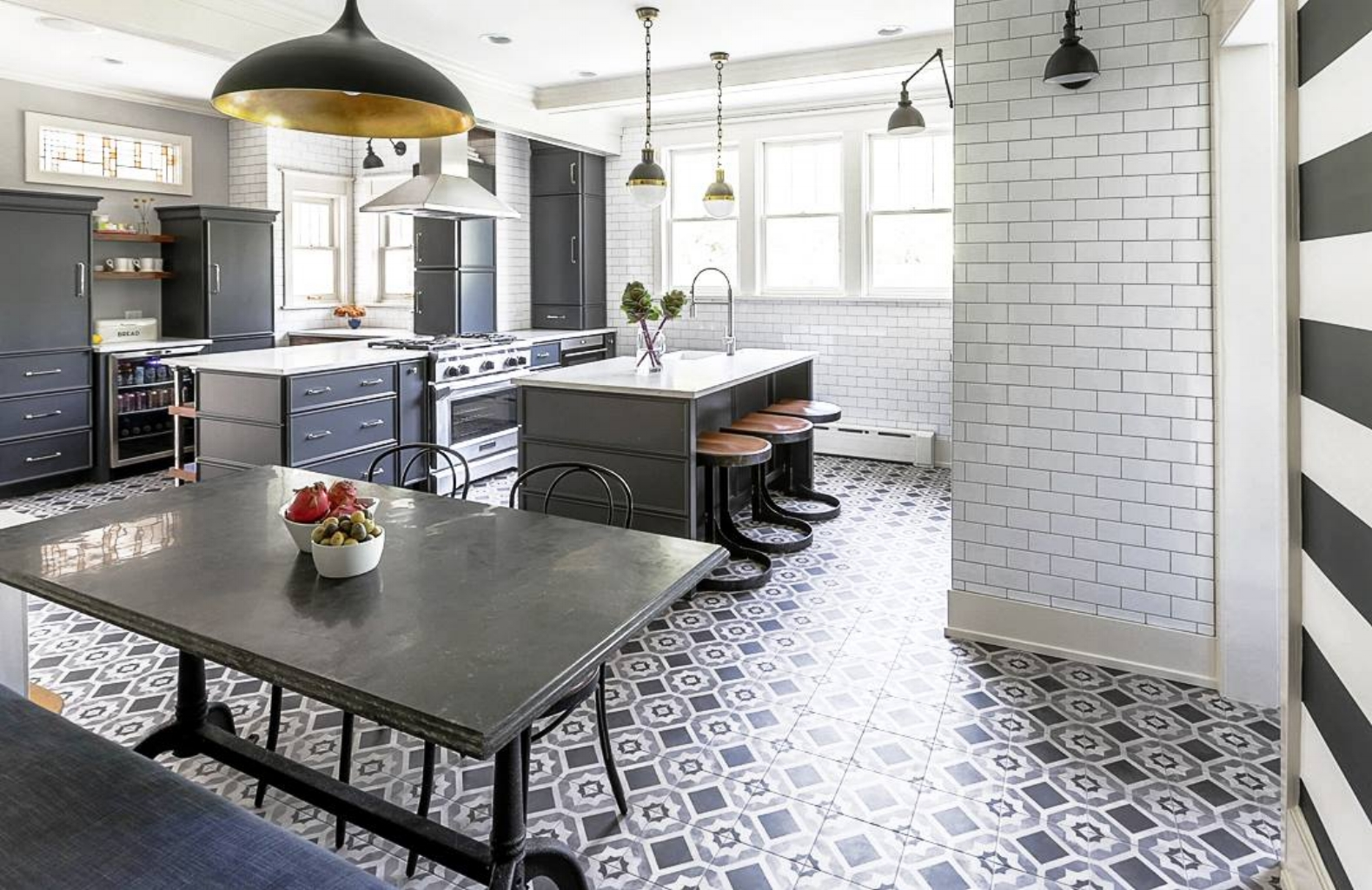 STATEMENT TILE - Another timeless design which has been around for centuries in Europe; especially in France, Italy and Spain is decorative floor tiles (motifs carreaux de ciment) . I designed my kitchen five years ago with an 18th century cement floor tiles as a back splash and it killed me to leave it behind! Such craftsmanship in these tiles.Well fast forward and now this is the crème de la crème of design. It has become more and more popular in the US. The style can range from classic to fun acoustic tiles. These tiles are great for utility rooms, kitchens and small bathrooms.