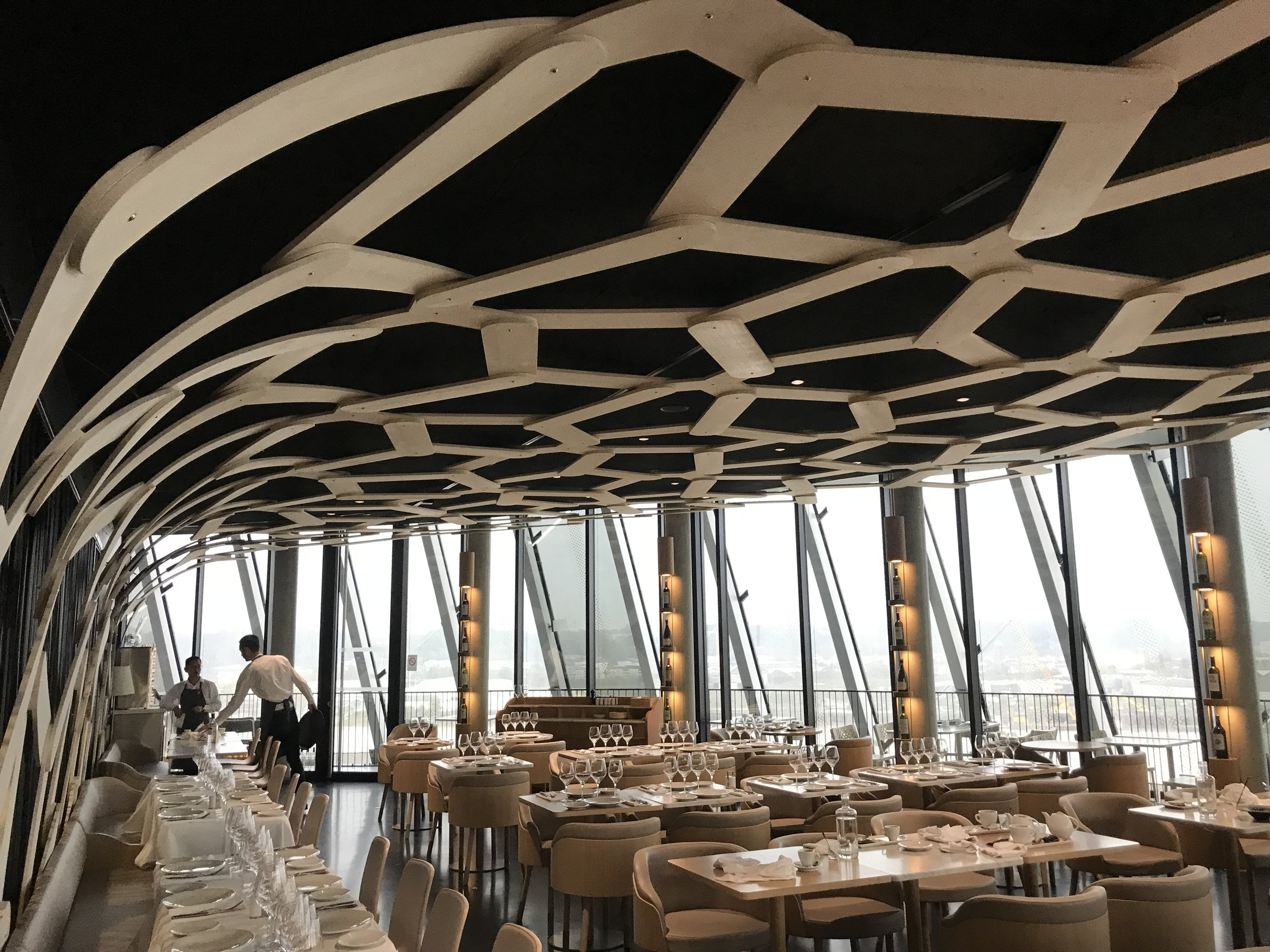 Le 7 Restaurant - Talk about an extensive wine list on a tablet they hand you, the food and the views are all out of this world not to mention the eye capturing modern architectural ceiling design. The restaurant is located inside the wine museum – La Cité du Vin. When we went we made it a day event which included lunch at the restaurant and we were not disappointed.