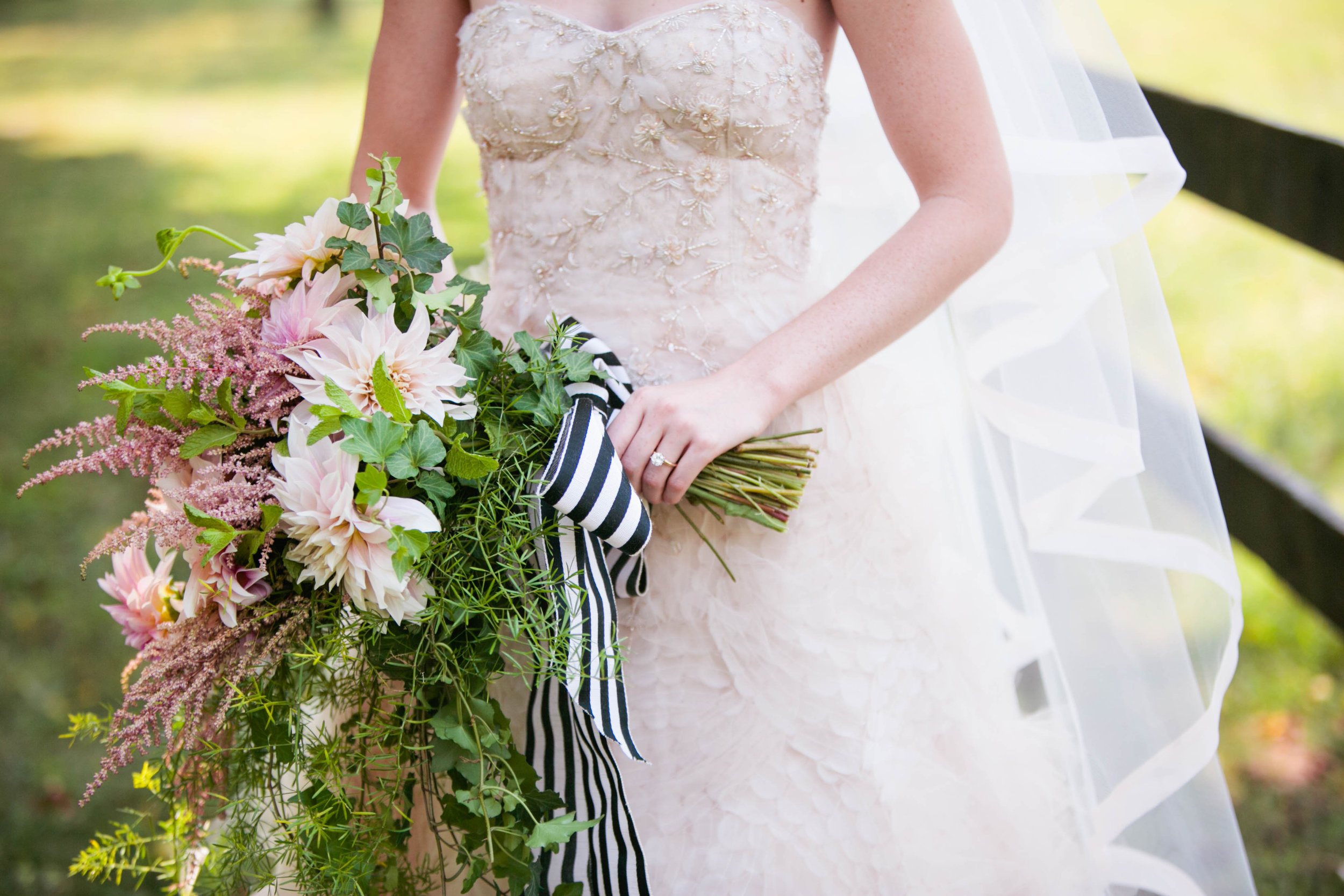 Elaine adores Black and White stripes, and France, and Jeff--who proposed to her in France! So when we found this Vintage French ribbon for her bouquet she was over the moon.