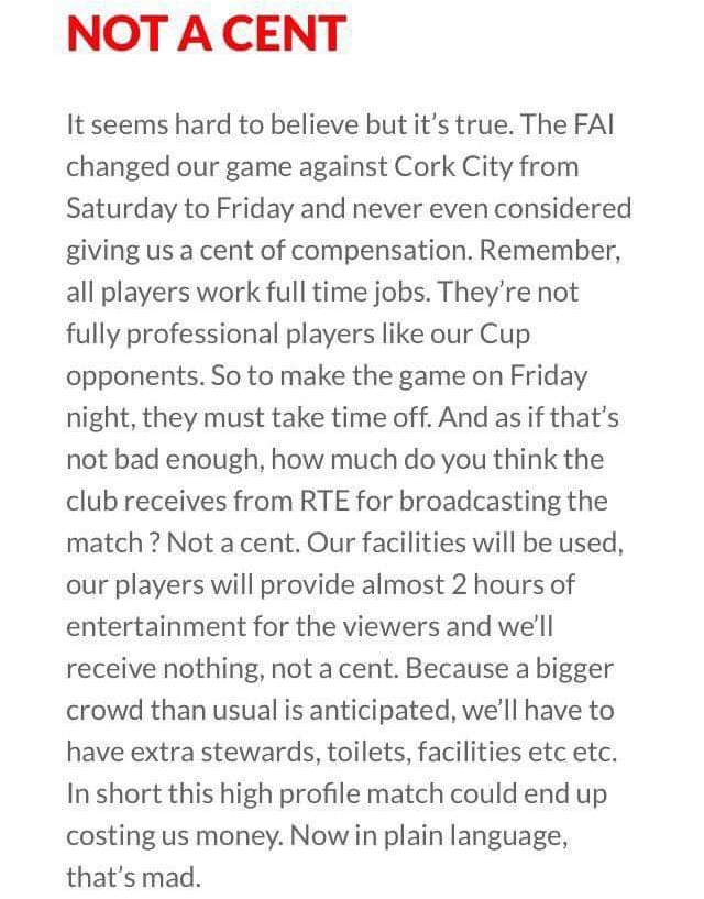 The Longford Town FC Supporters Club raised the above issues in their weekly notes and it has caused quite the stir among League of Ireland fans on social media.