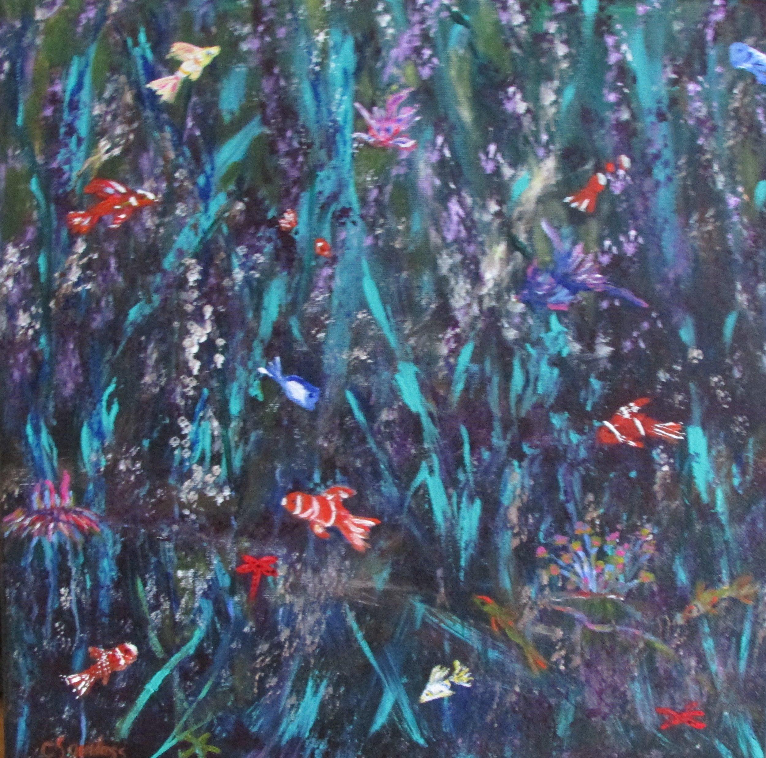 Fish Fantasy 16x16 Acrylic $300