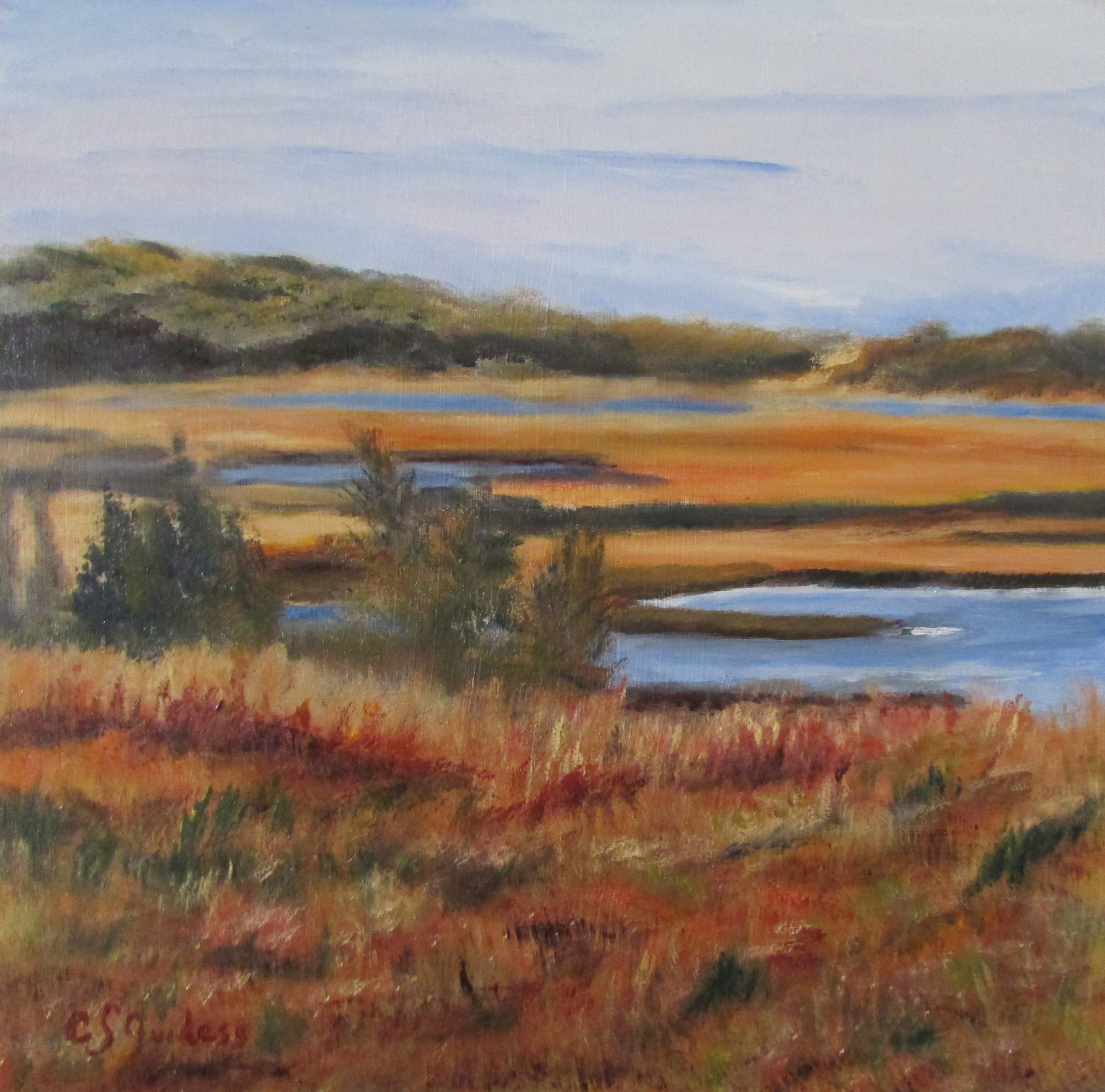 Fall On Marsh 12x12 Oil $250
