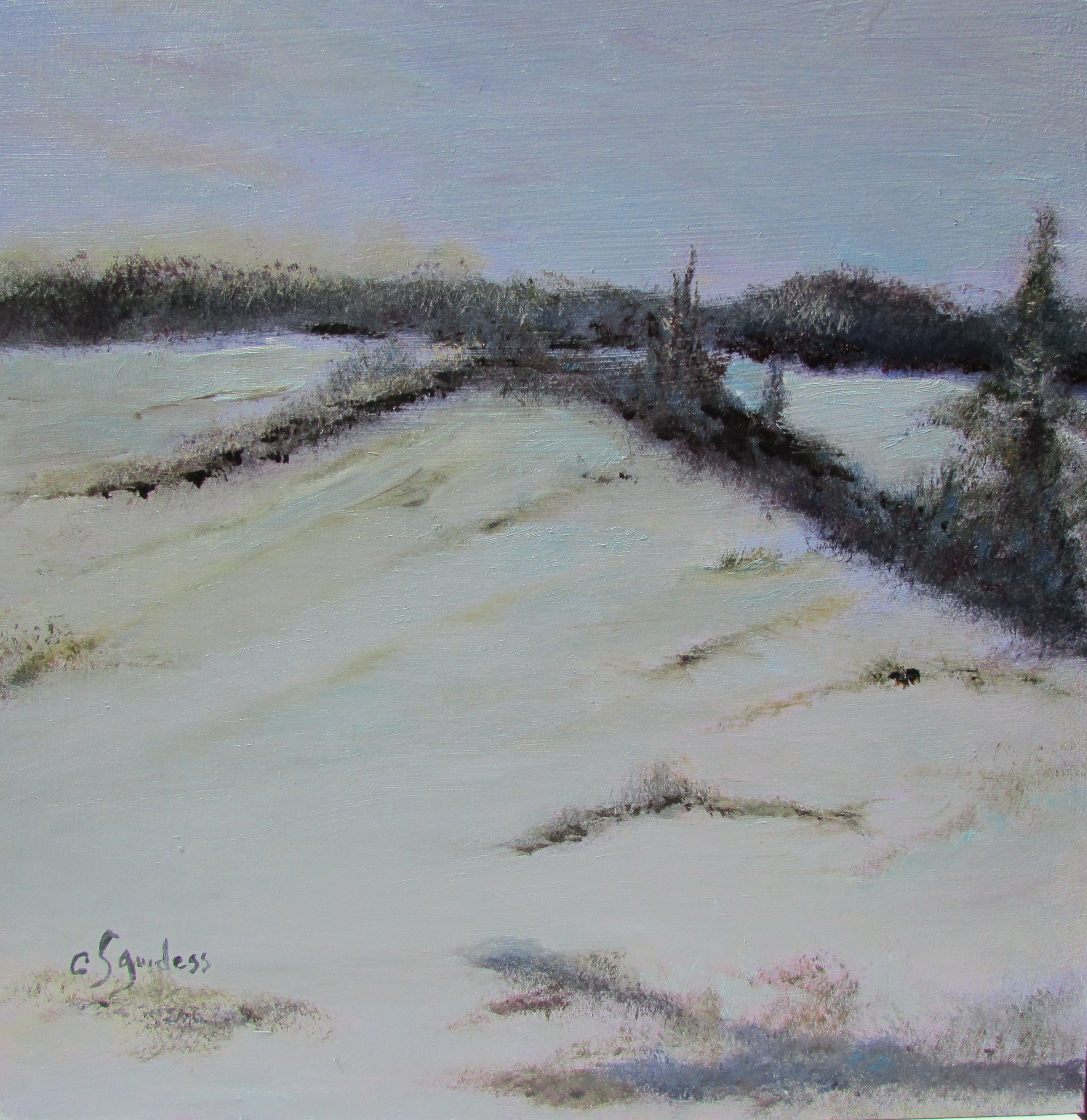 Day's End-Winter 12x12 Oil $250