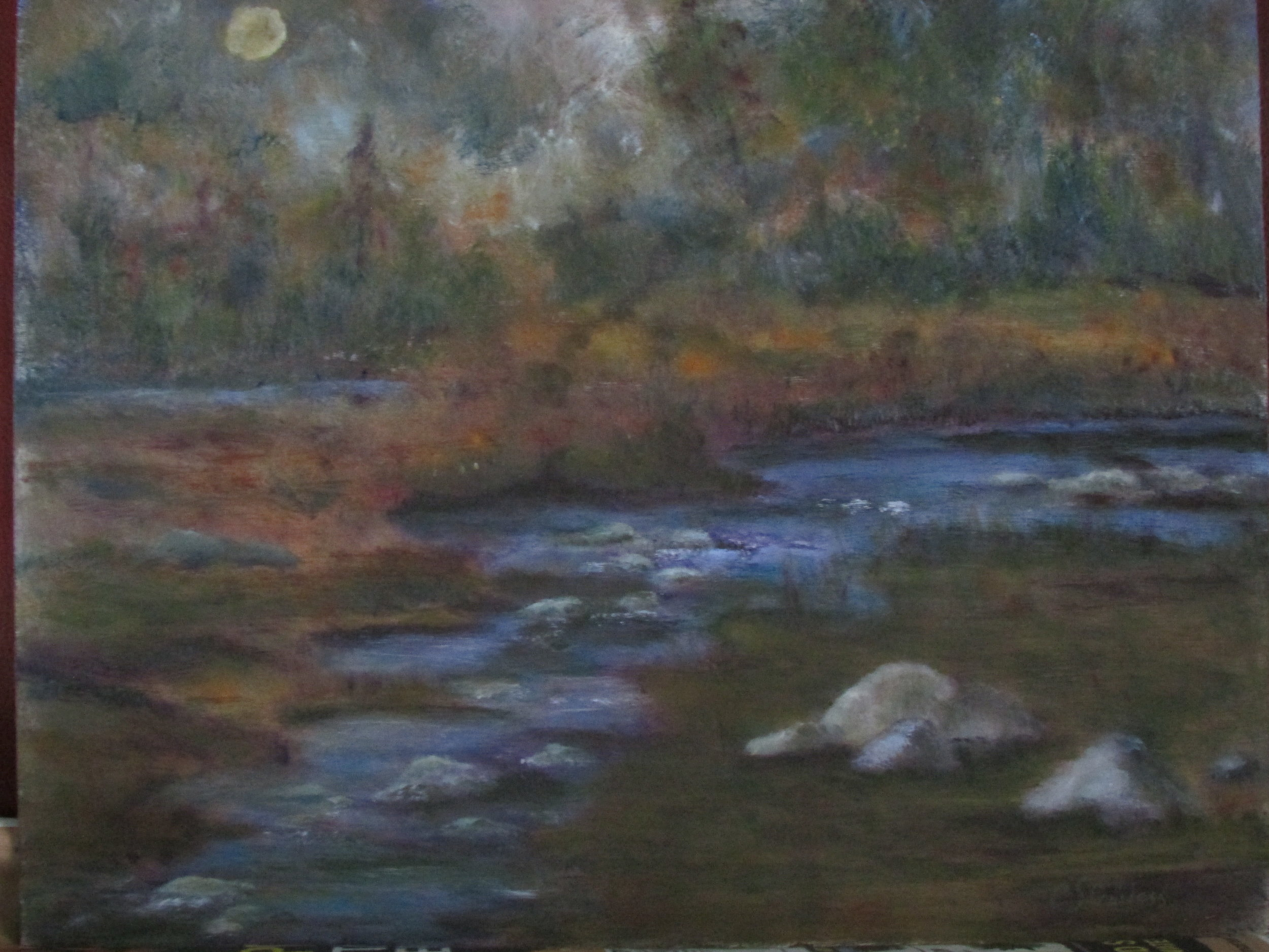 Moonlit Stream 16x20 Oil $300