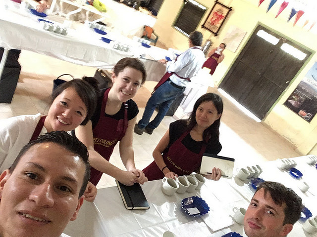 The cupping team, CCS Acevedo Cup 2016. Clockwise from top: Ria - Four Letter Word, Dillon - Parlor Coffee, Eduardo - Fairfield Trading, Melanie - CCS, Tali - Barismo.