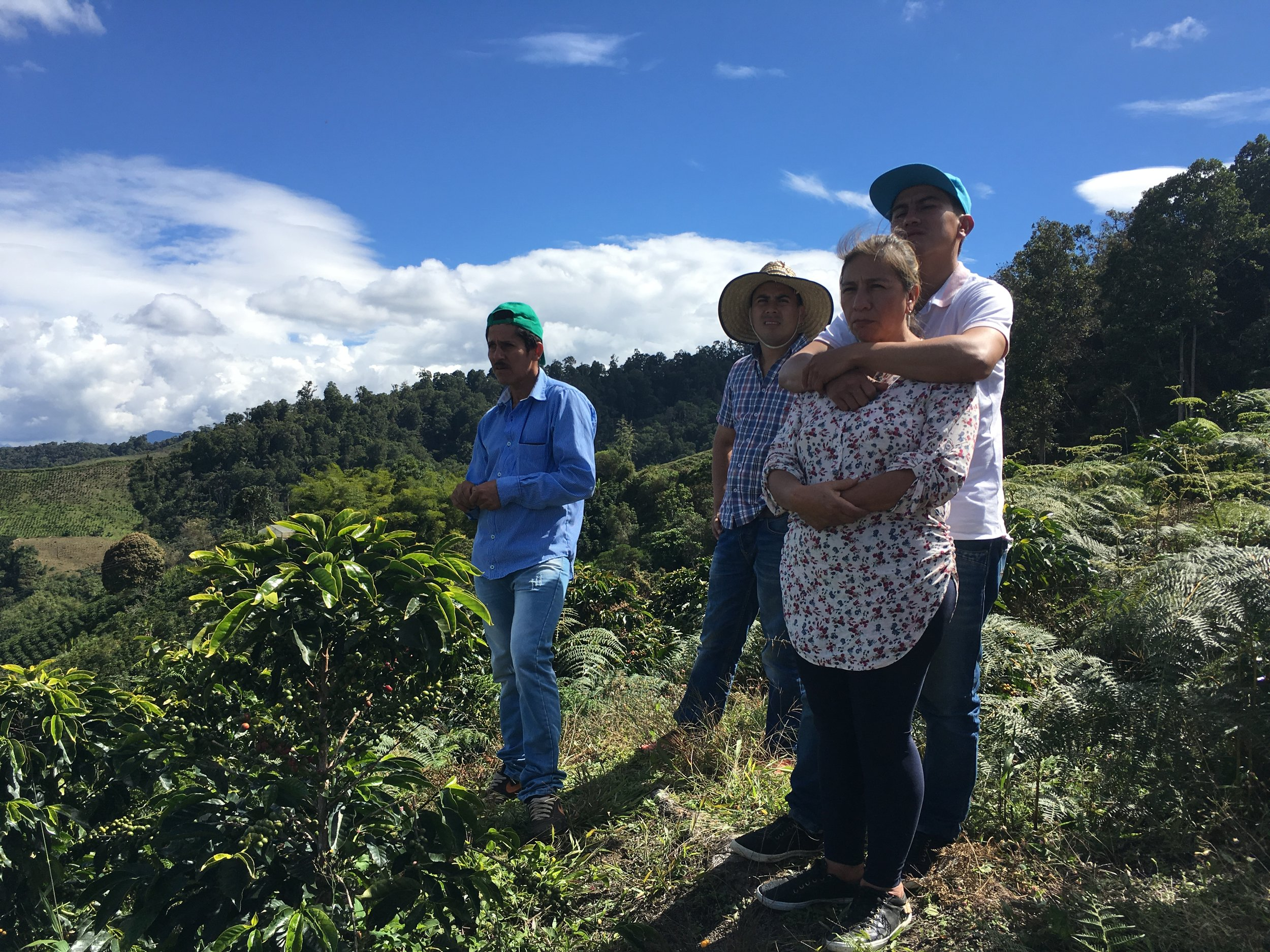 From left: Luis Anibal Calderon, Diego Erazo Martinez, Daniel Erazo Martinez, Maria Bercelia Martinez. Maria and her family are key CCS partners in the micro-region of Acevedo in Huila, Colombia.