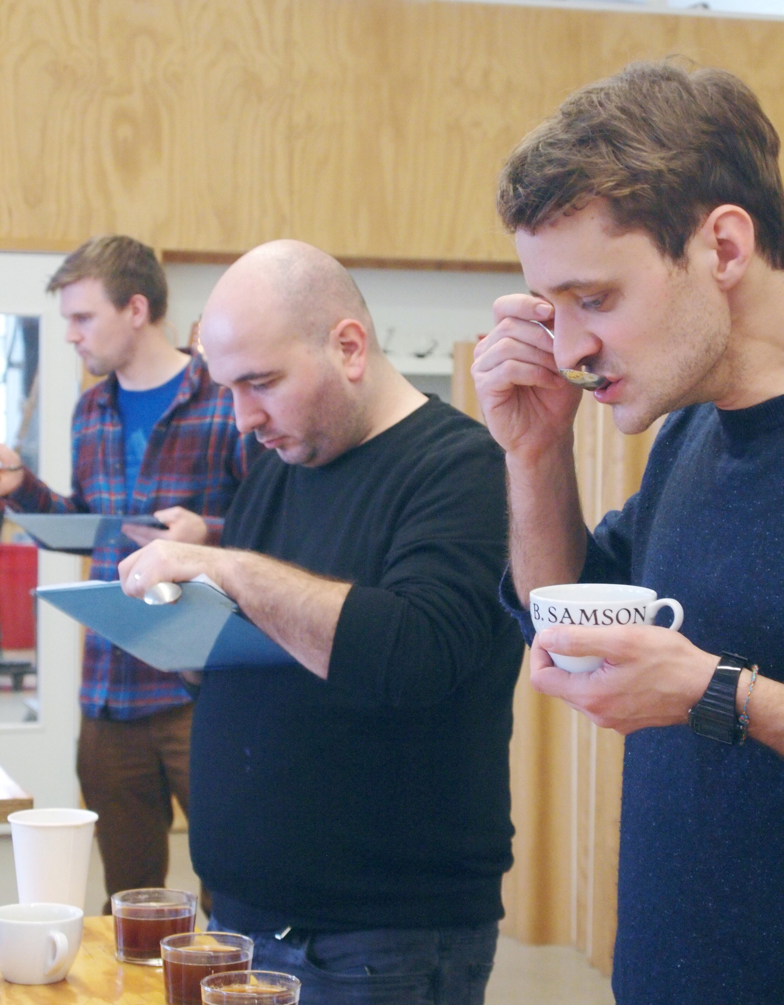 At the cupping table, Nico from CCS and Mihai from Origo Coffee, Romania.