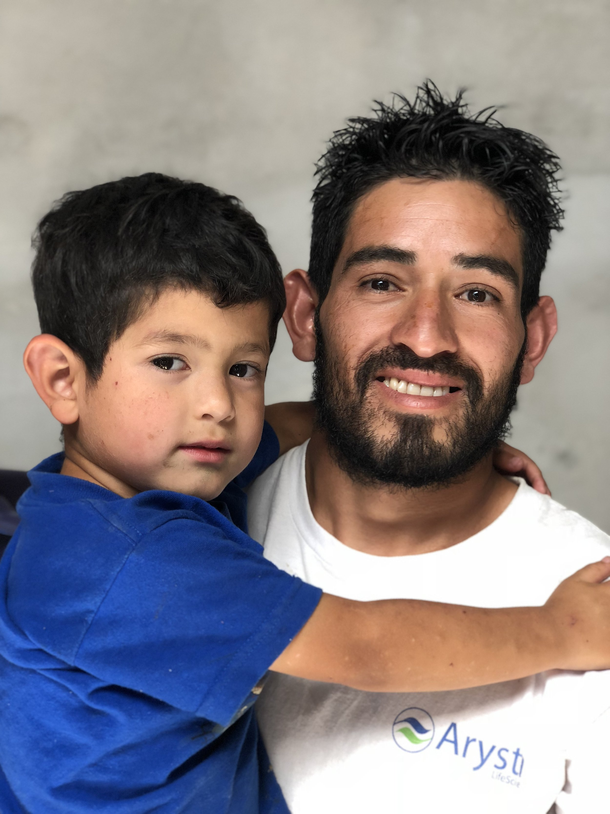 Dolmin Moreno with his son, Dolmin Isak