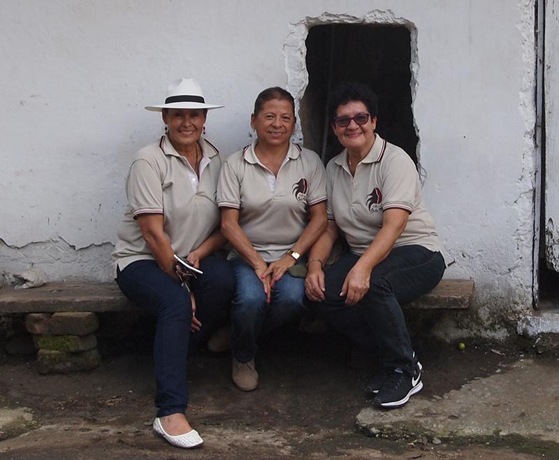 Left to right: Aneth Choronta, Floralba Peña Peña and Amparo Corrales Baena of Café Sello Mujer women's producer association.