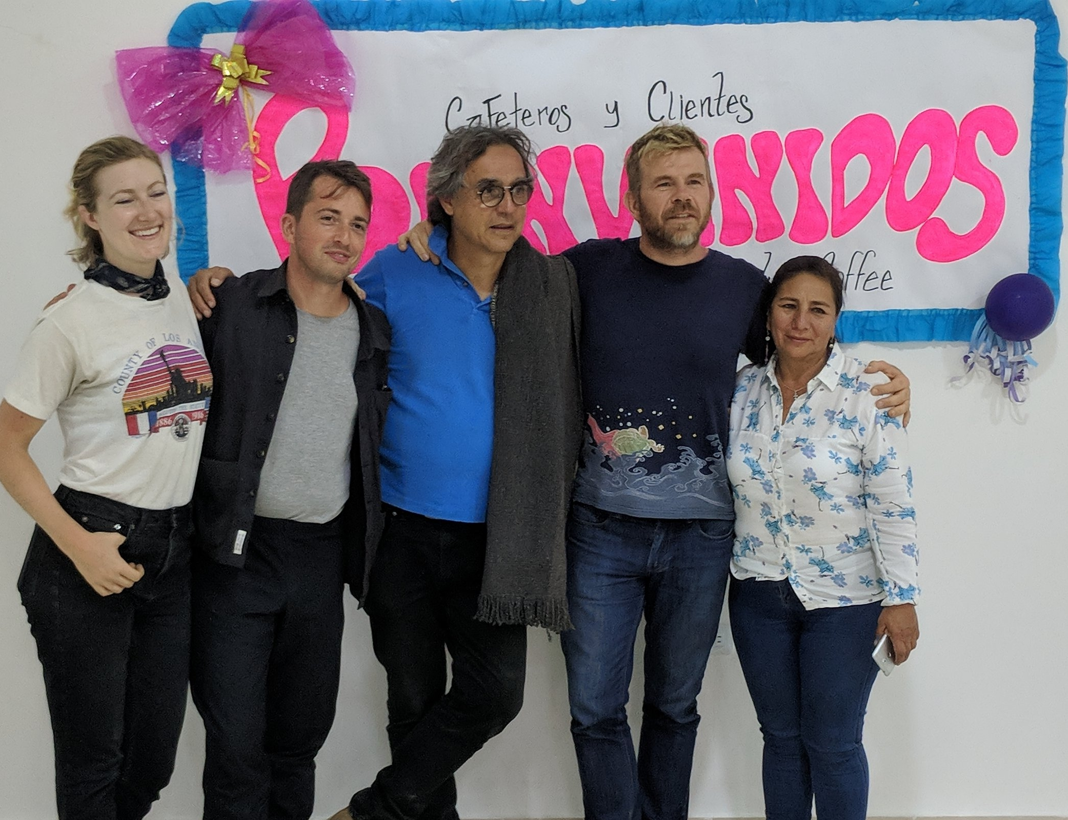 Welcome, clients and producers! The inauguration of the Fairfield Trading purchasing point, San Agustin, Huila, Colombia. From left to right, Stephanie and Dillon from Parlor Coffee, Alejandro of Fairfield Trading, Robert William Thoresen of CCS, and producer Maria Bercelia Martinez.