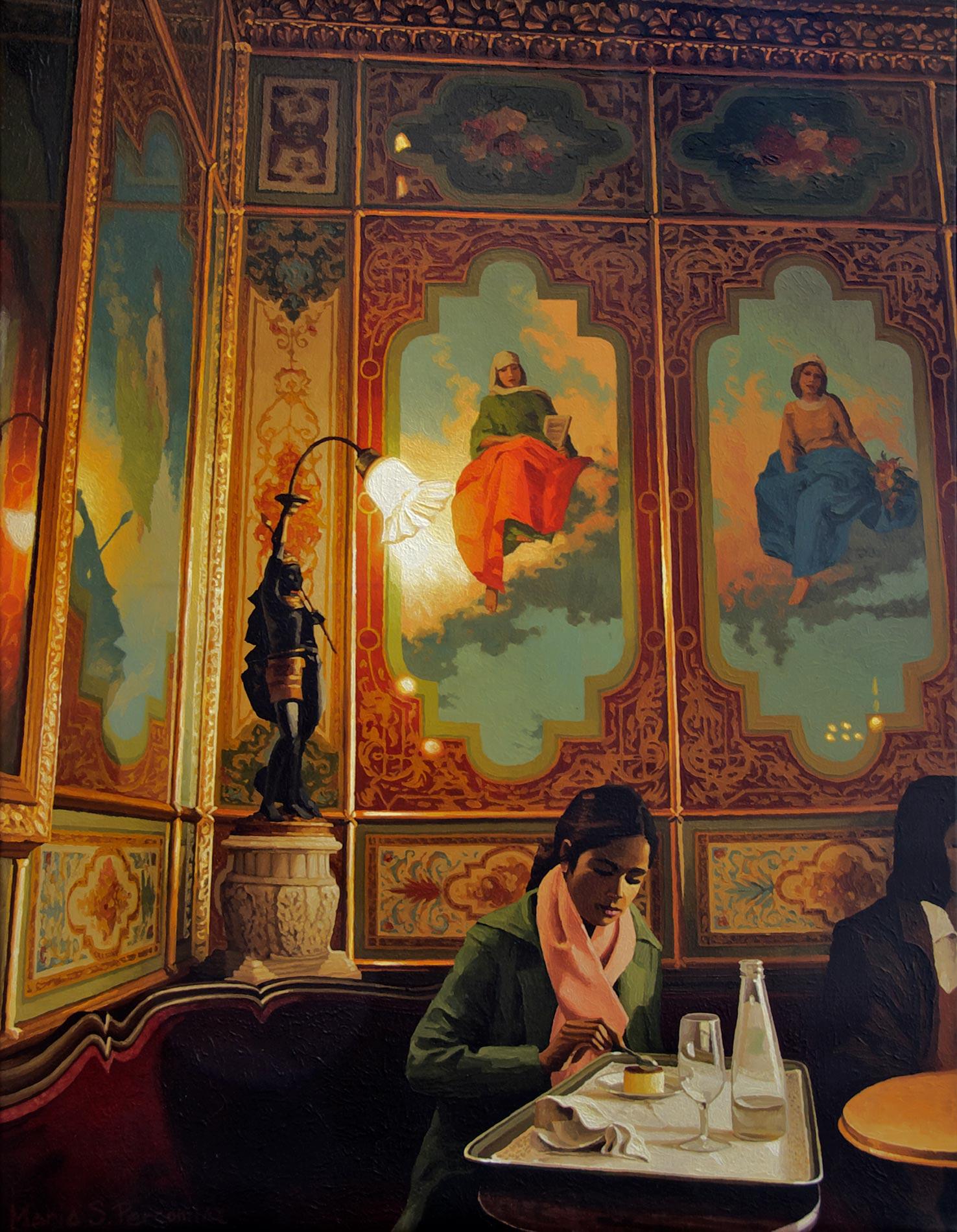 Le café Florian à Venise avec quelques personnages