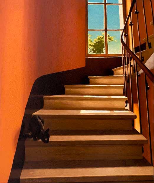 Escalier jaune avec chaton