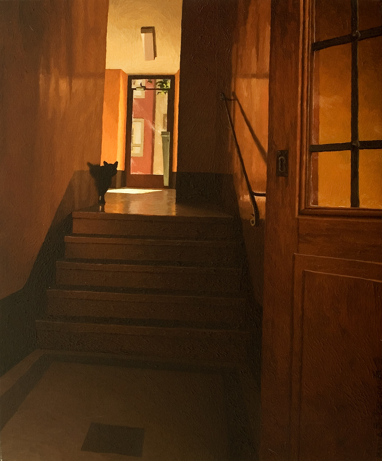 Hall d'immeuble avec chat