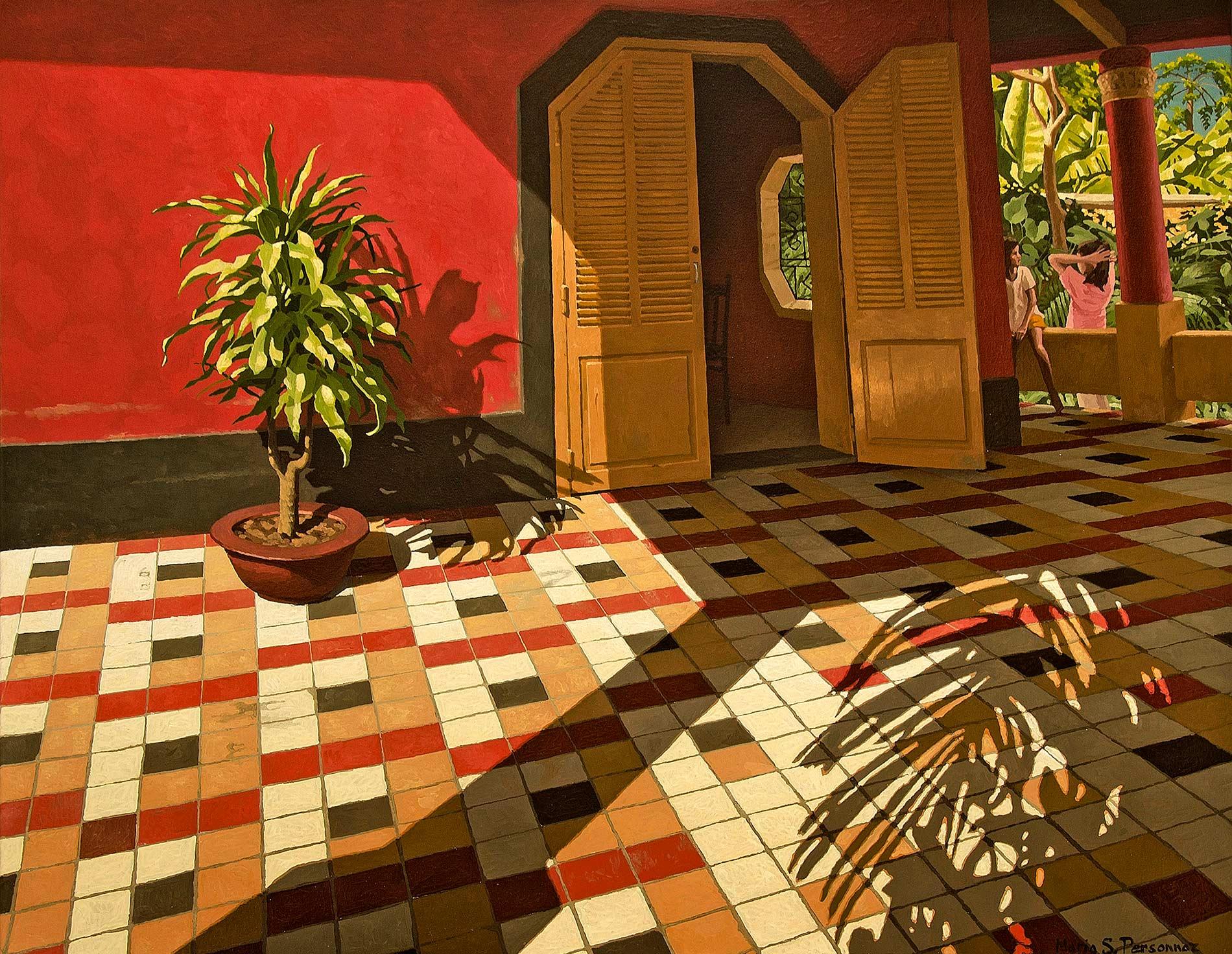 Yucca sur une terrasse rouge