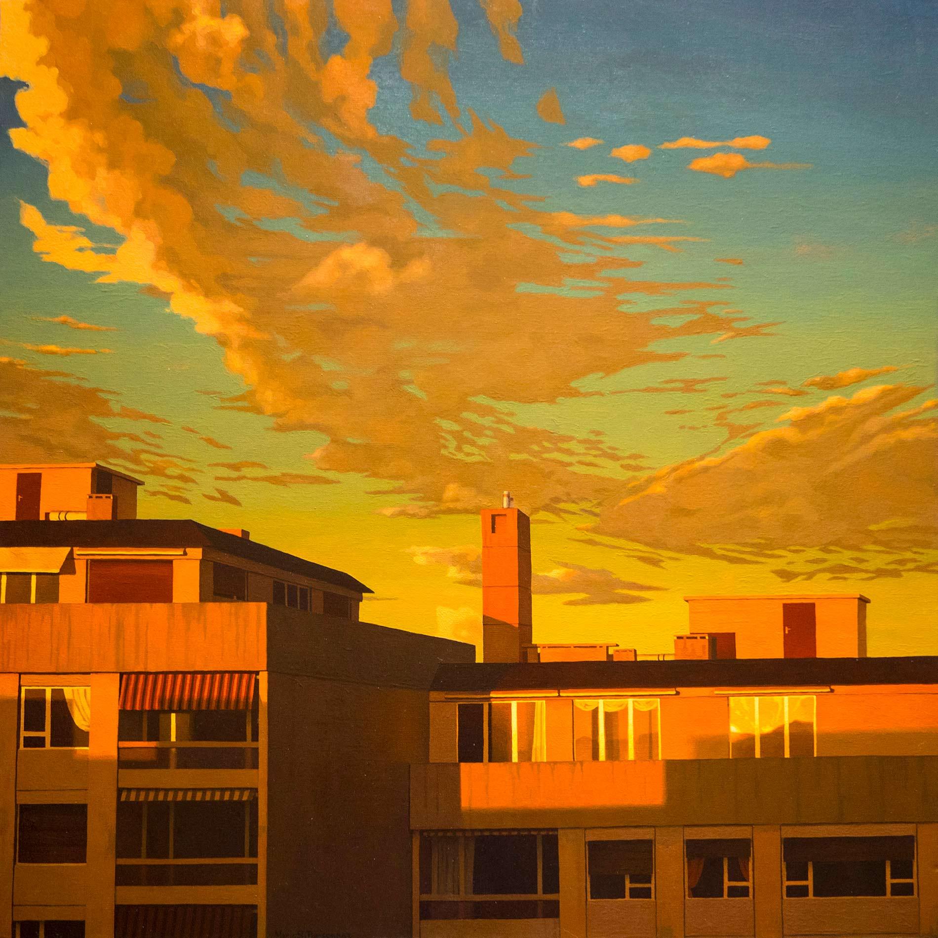 Ciel du soir sur deux immeubles
