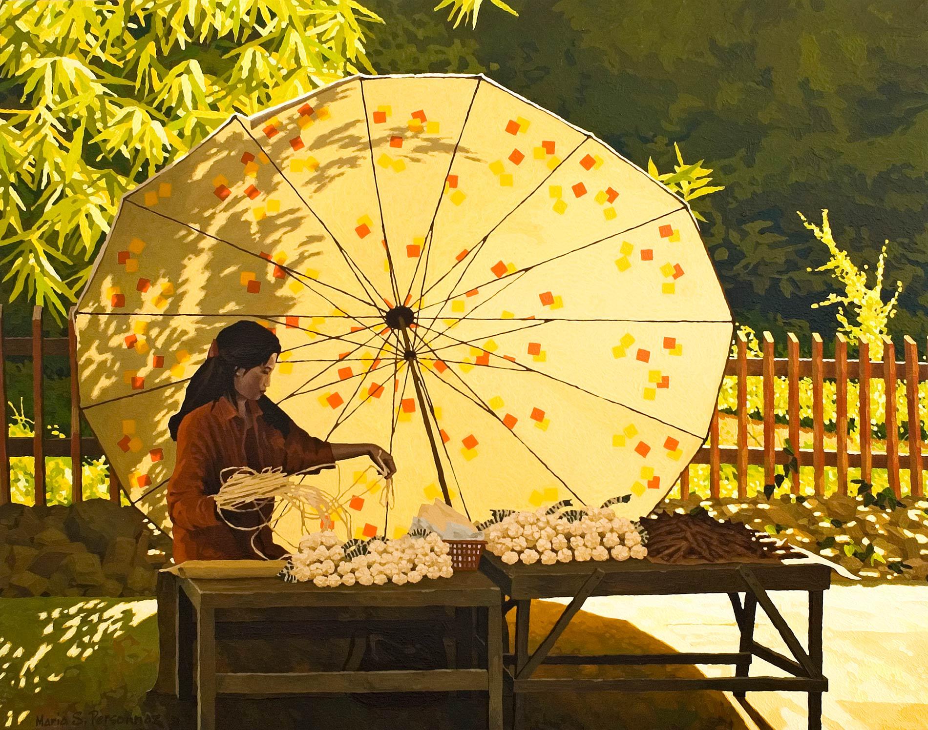 Marchande et son parasol à motifs, Vientiane