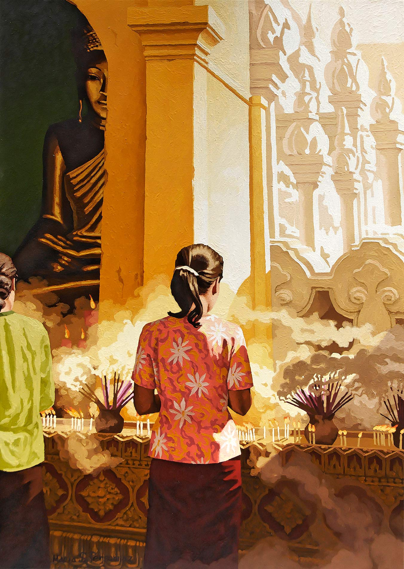 Deux femmes debout et le Bouddha