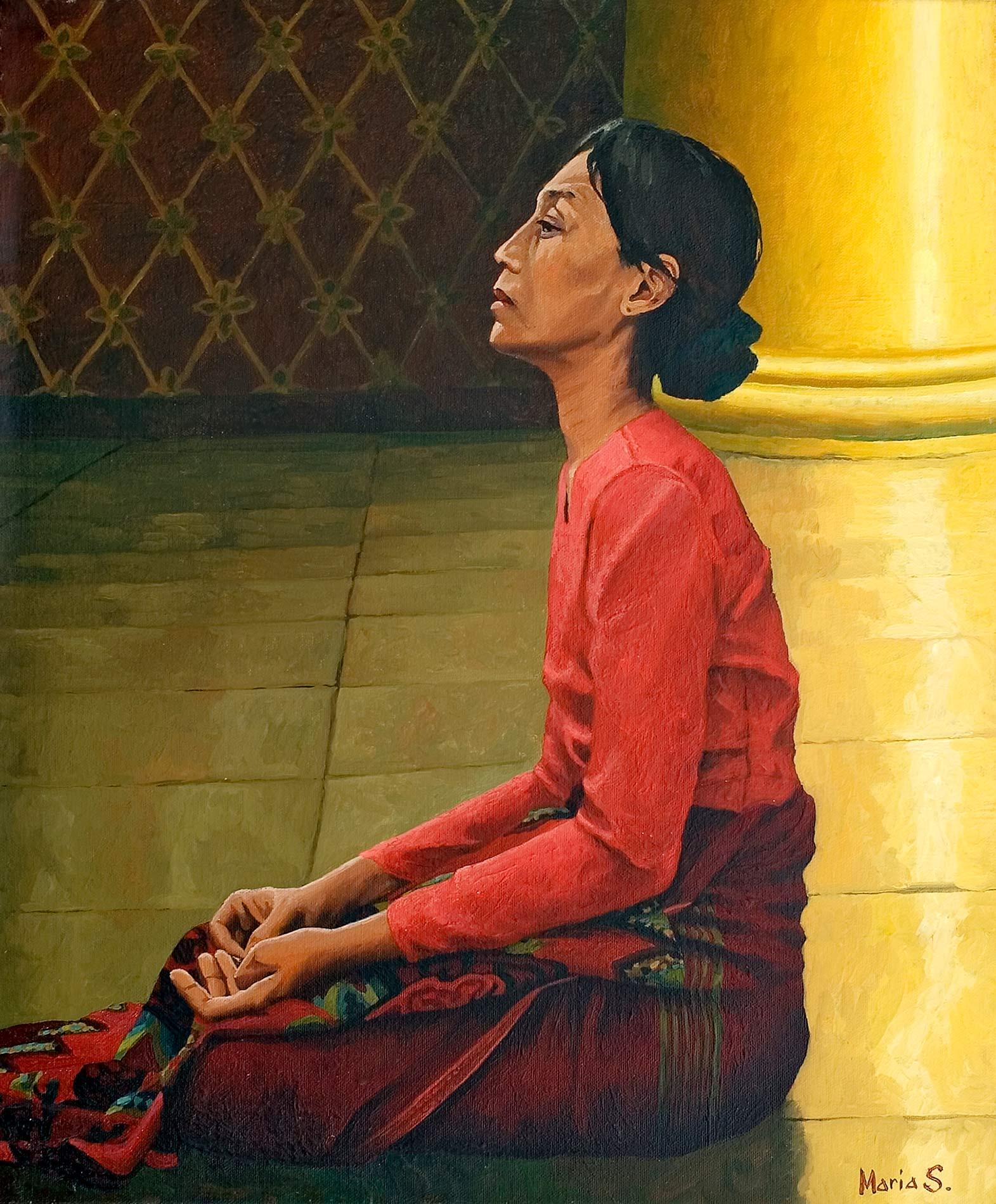 Femme au Shwedagon, Yangon