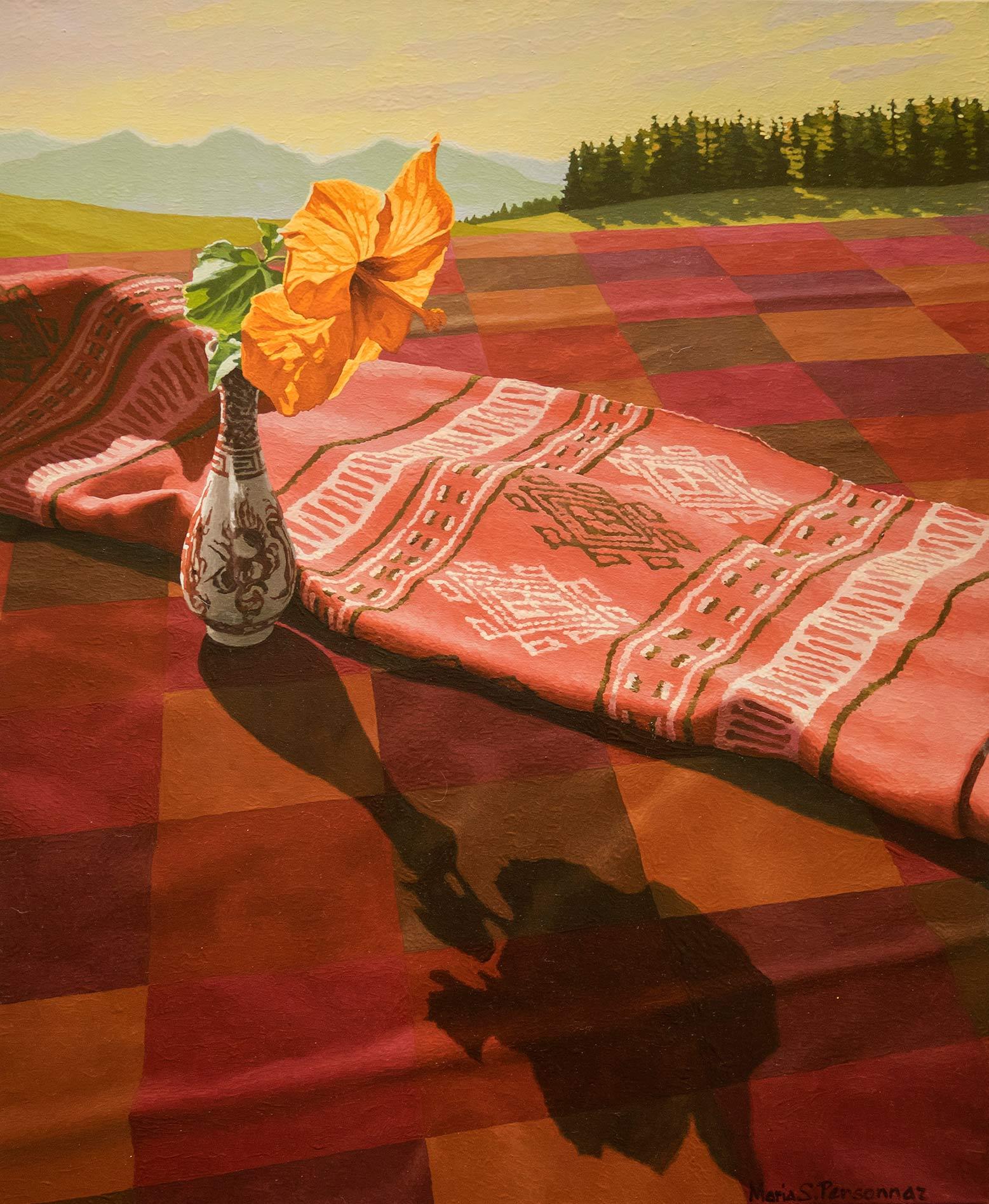 Fleur d'hibiscus, écharpe et montagnes