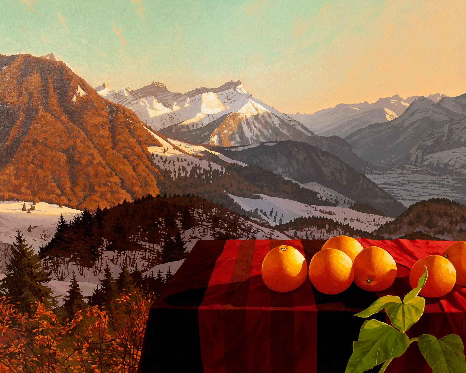 Oranges and the Alps seen from Leysin