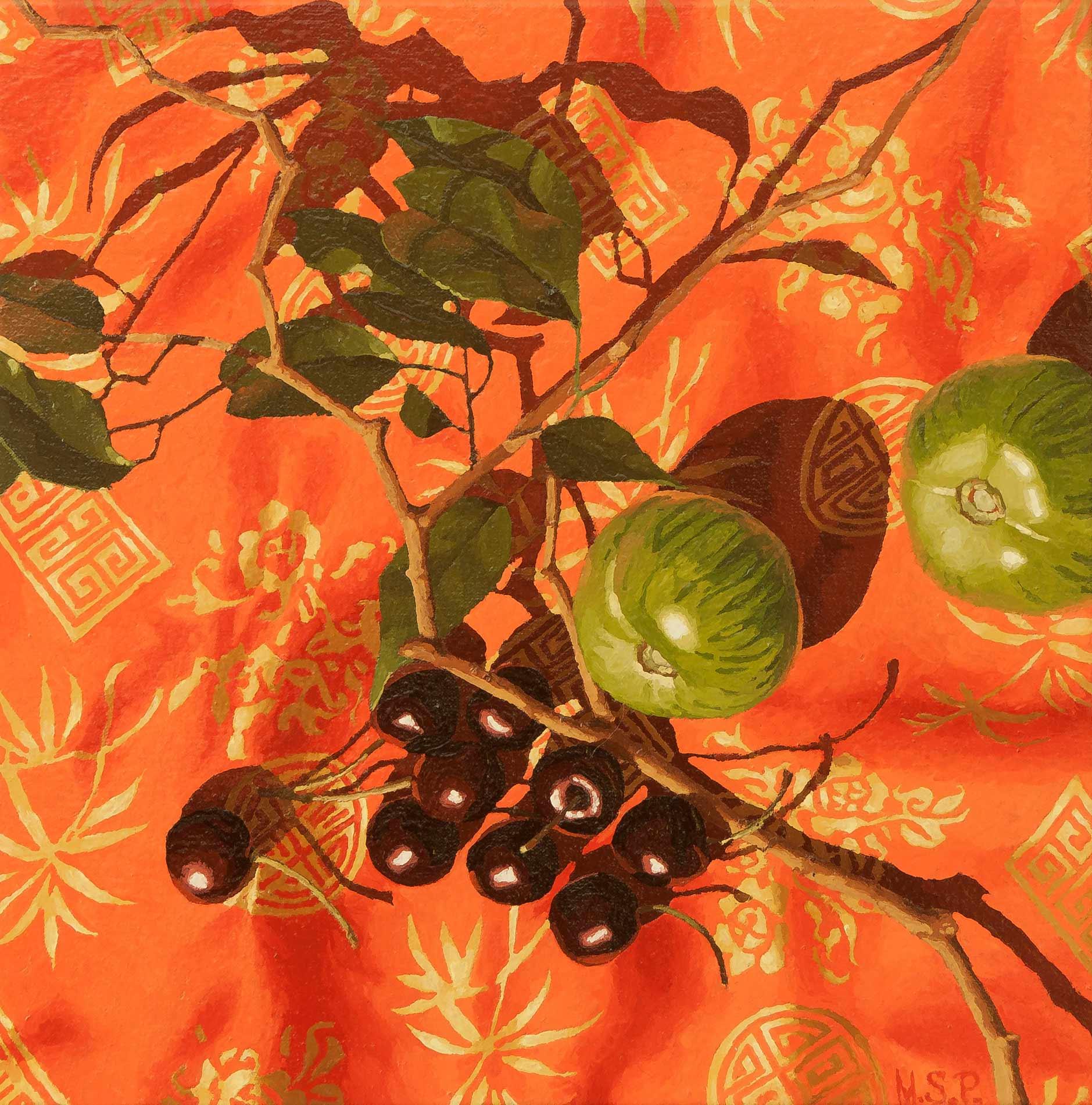 Green tomatoes, cherries and vietnamese silk