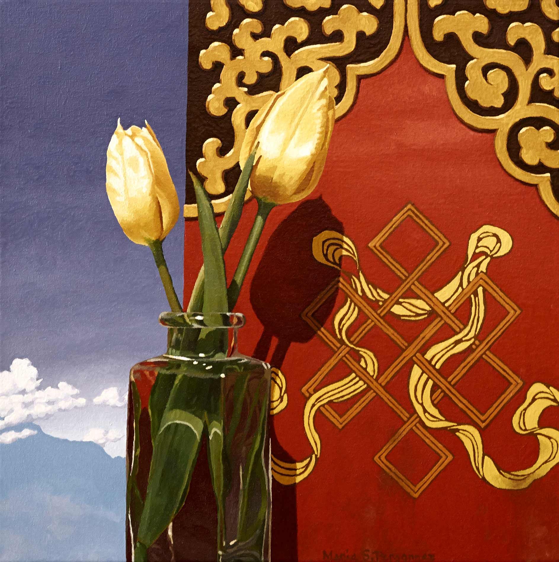 Tulips and symbole of eternity