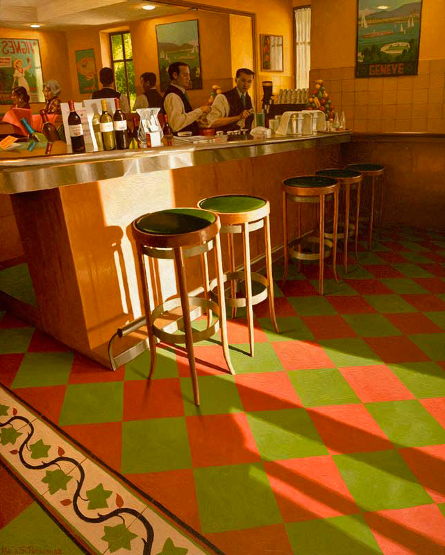 Sunset on a red and green tiling (1)