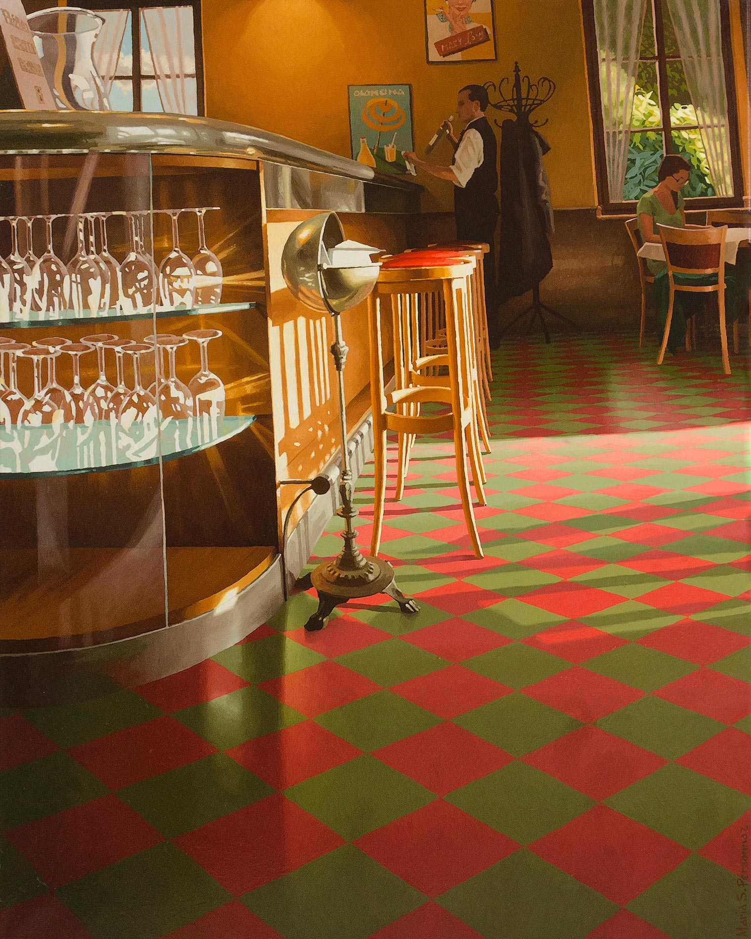 Sunset on a red and green tiling (2)