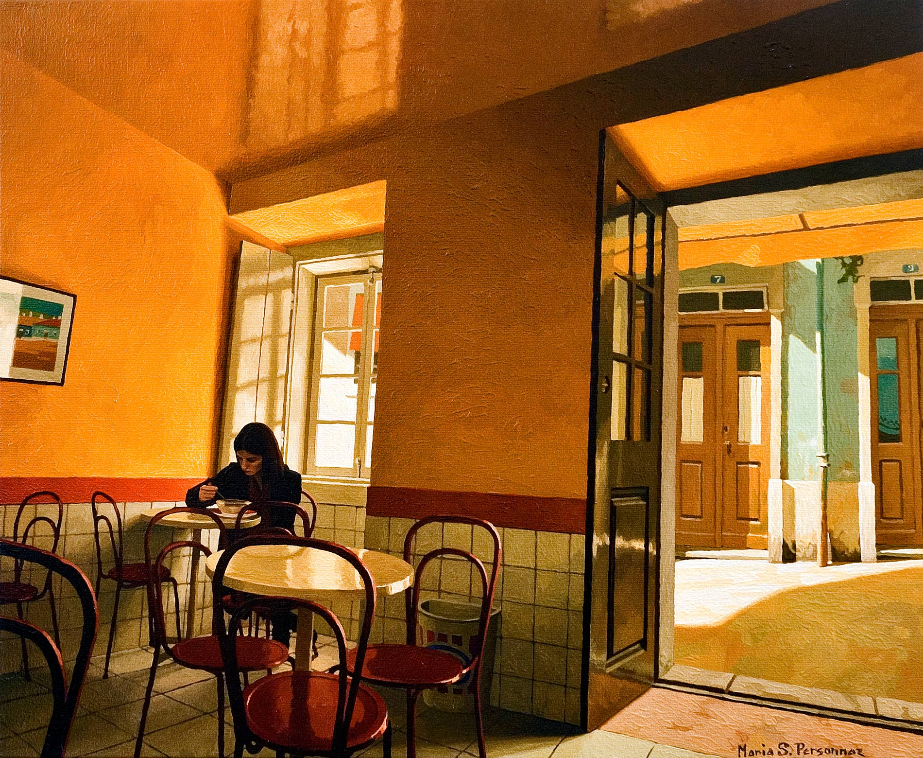 Cafeteria with yellow walls, Portugal