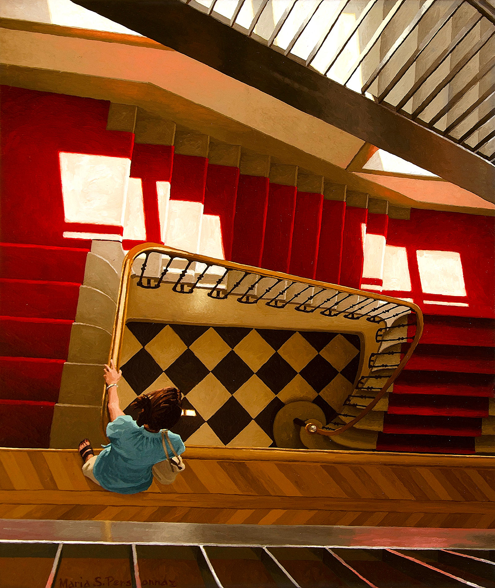 Staircase with sunny red carpet