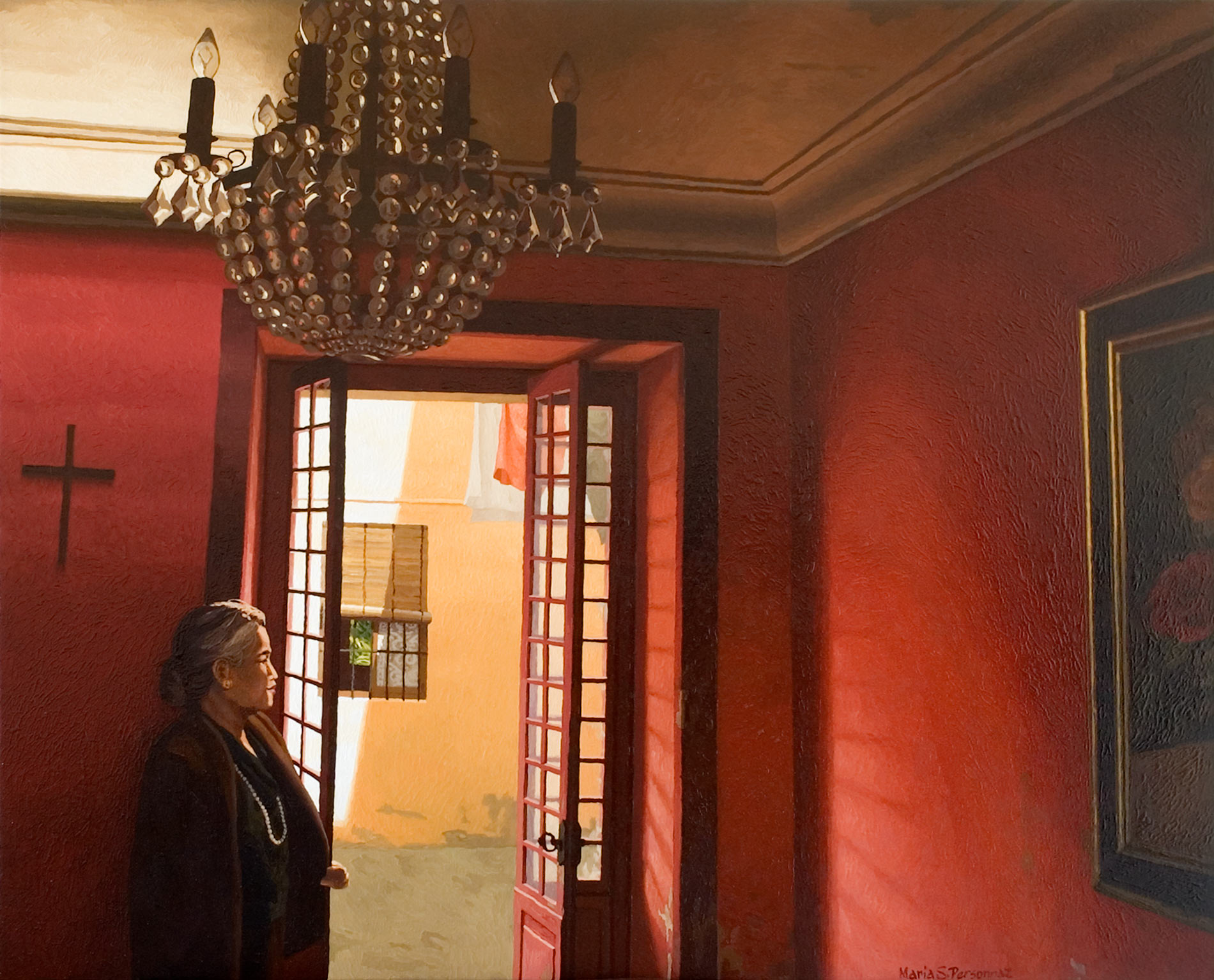 Red interior with chandelier