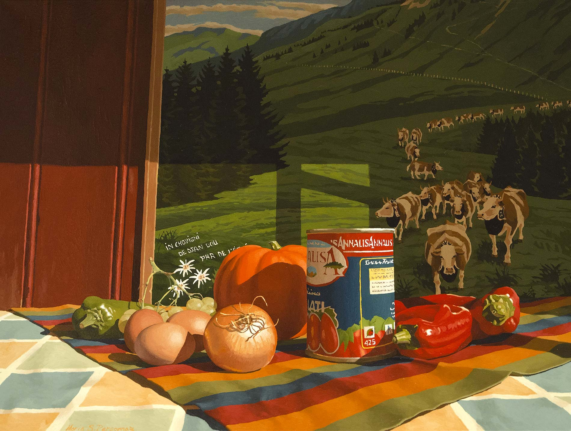 Foods and fragment of a painting of Felix Castella