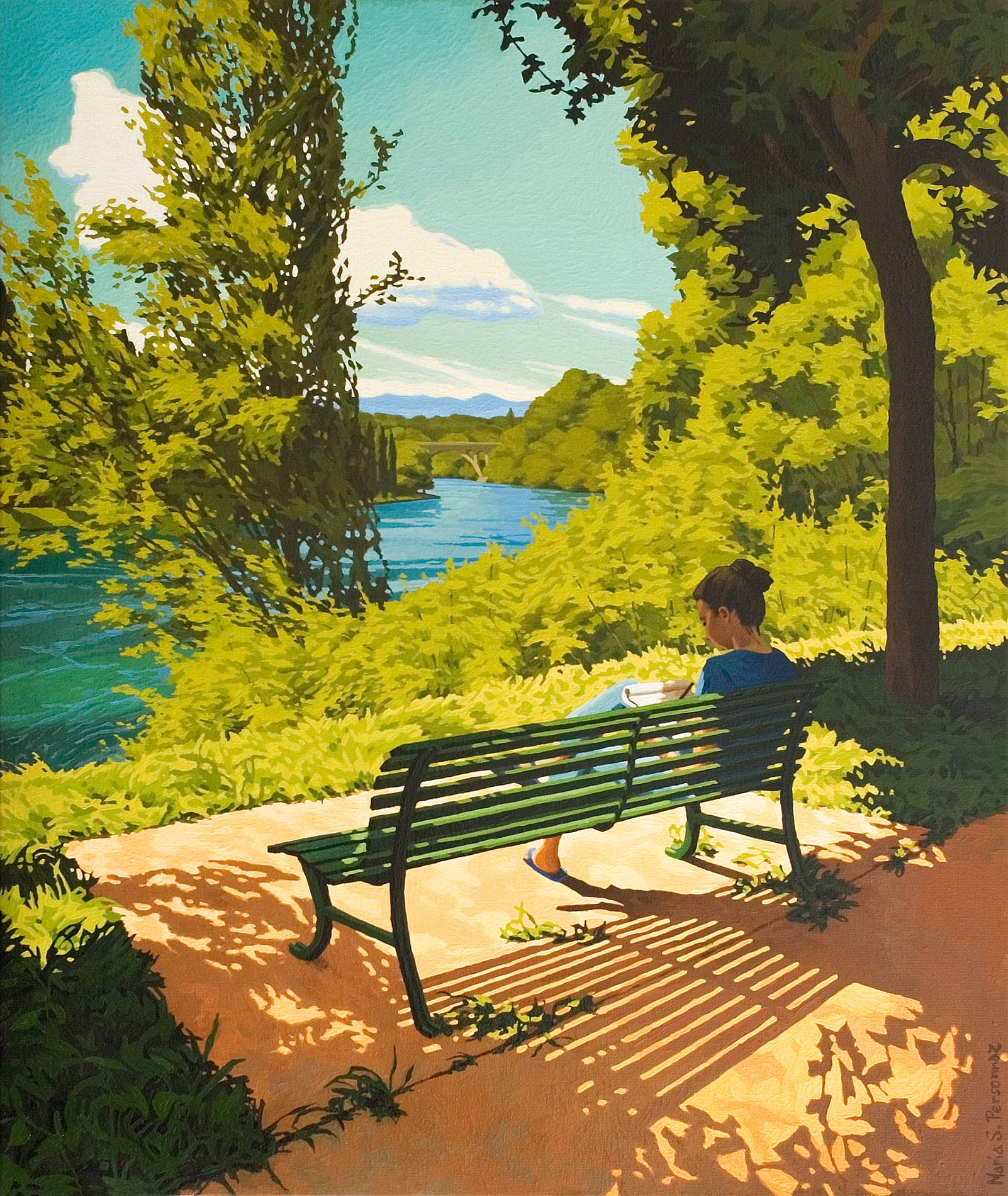 A bench near the Rhône, Geneva