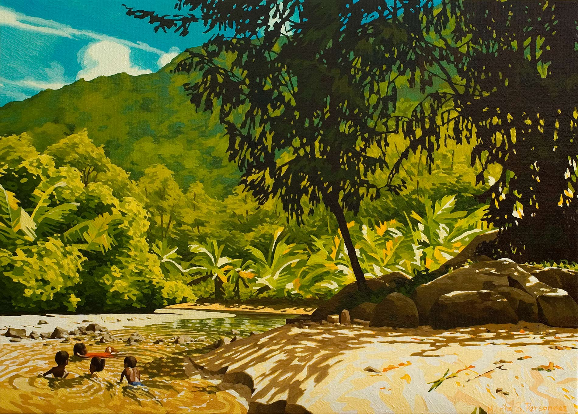 Landscape with bathers, Seychelles