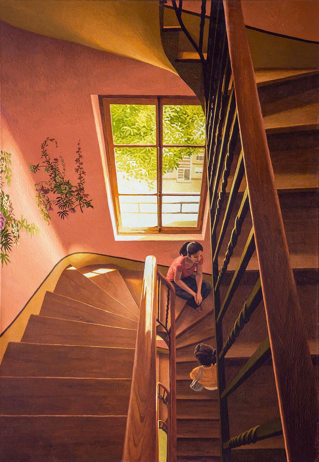 Cage d'escalier avec fresques de fleurs