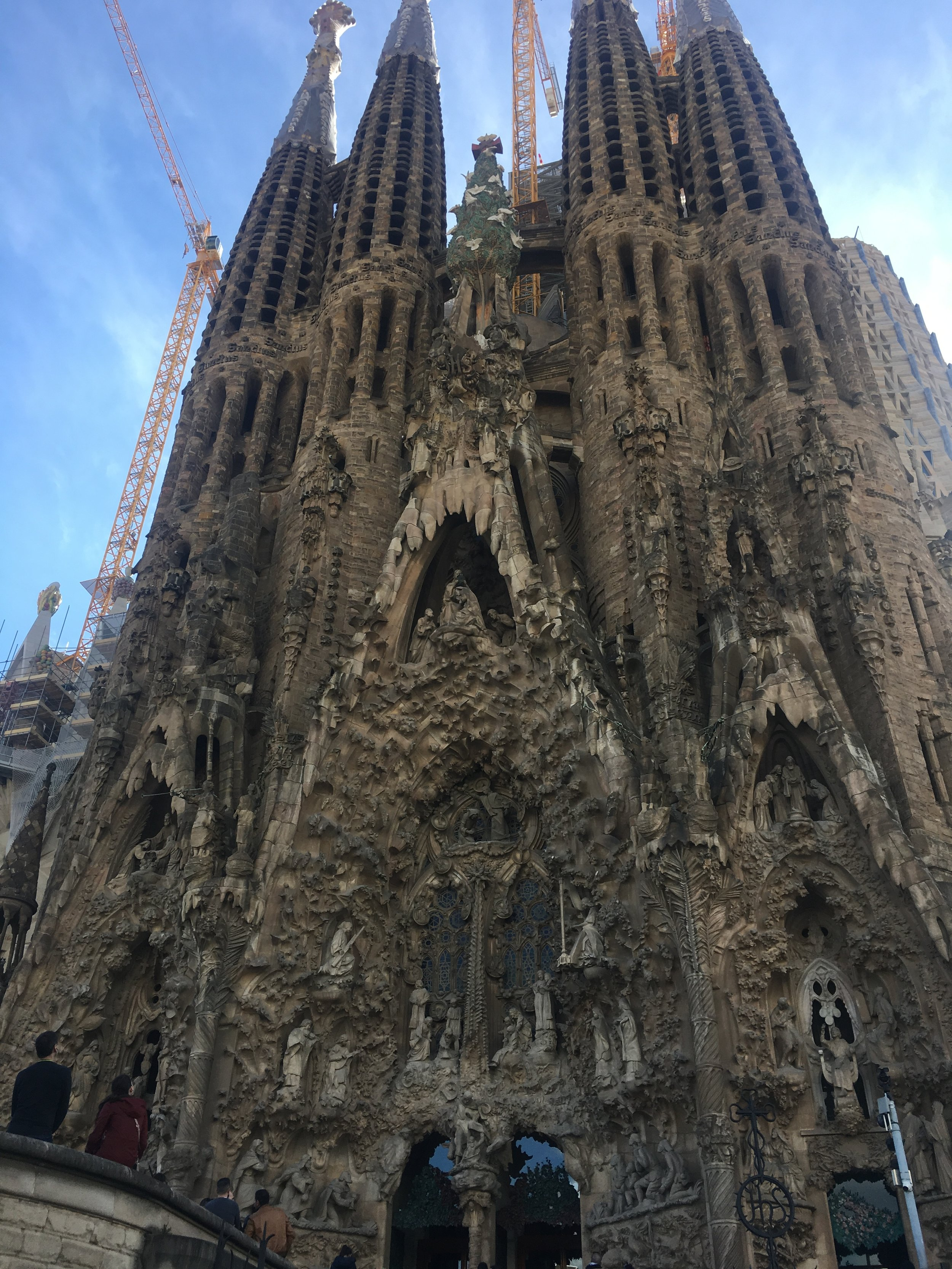The outside of the Sagrada Familia: Gothic and Somewhat Intimidating. Photo Credit: Mallory Mrozinski, Spring 2018.
