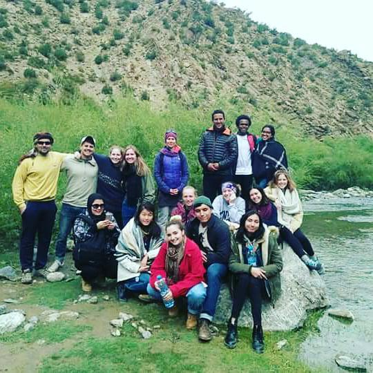 Students hiked to the village spring and met with a local potable water association. Photo credit: Nabila Jaber, 2018