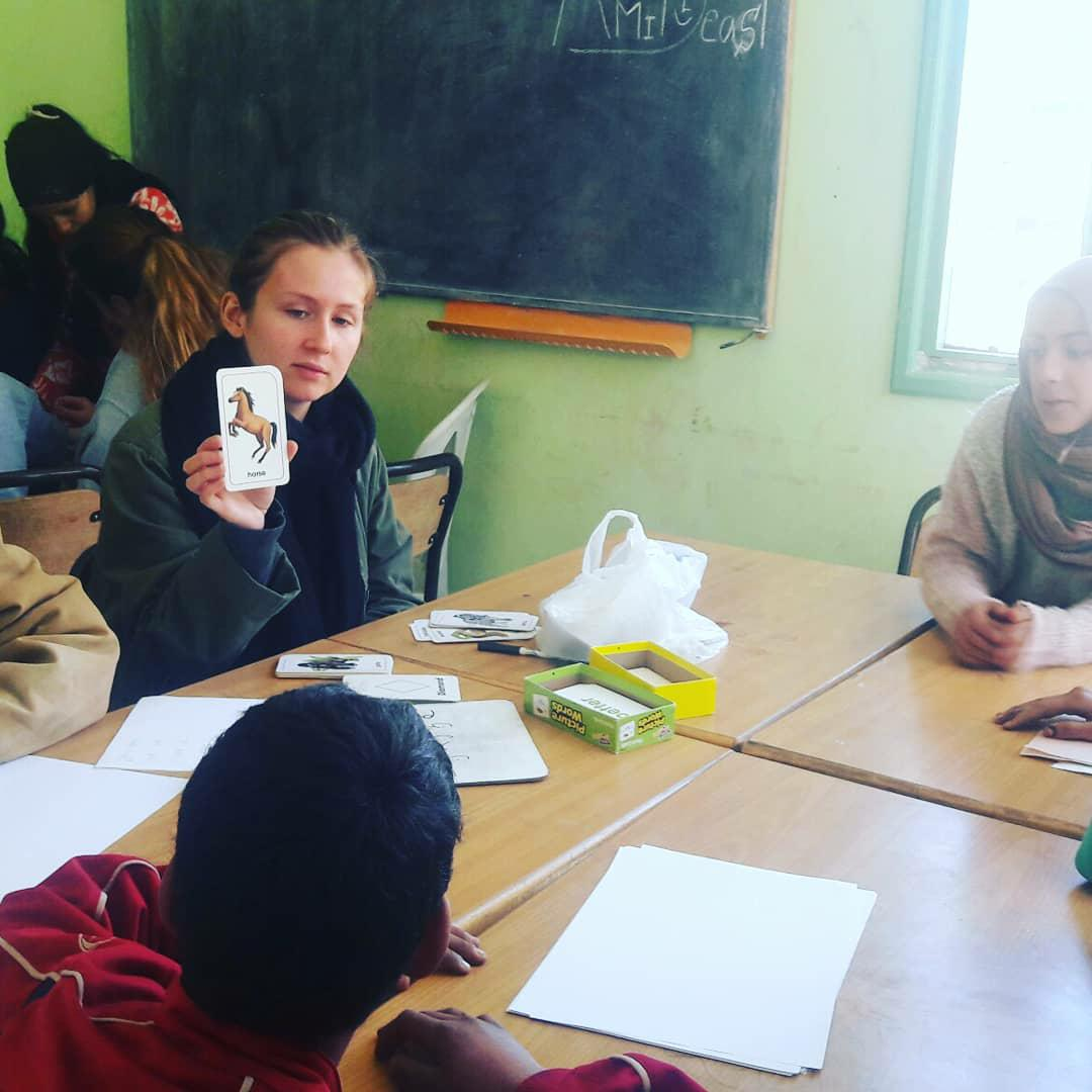 AMIDEAST students lead tutoring program activities in the village of Aguddim. Photo credit: Nabila Jaber, 2018