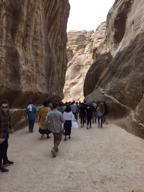 Spring 2018 students walk down the Siq to the Treasury at Petra during their Southern Excursion.