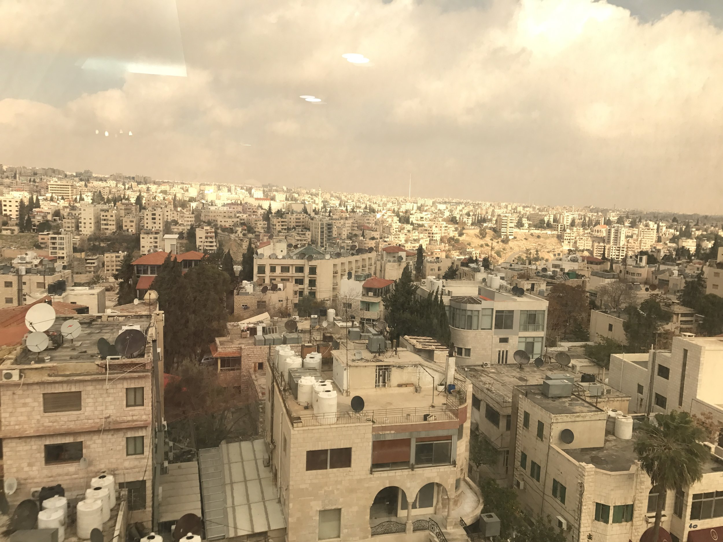The first picture I took in Jordan! This was the view from the window of the conference room of the Belle View hotel. This was before everything, before I met my host family, before classes started, before I had barely spoken a word of Arabic in Jordan. I was fascinated by the stacks of identical looking beige buildings. It looked so different from anywhere I had been before. It's funny to look at this picture and think about I was feeling at the time, and I had no idea what to expect. Little did I know how much I would learn and how much I would enjoy this experience. Photo credit: Samantha Manno, 2018