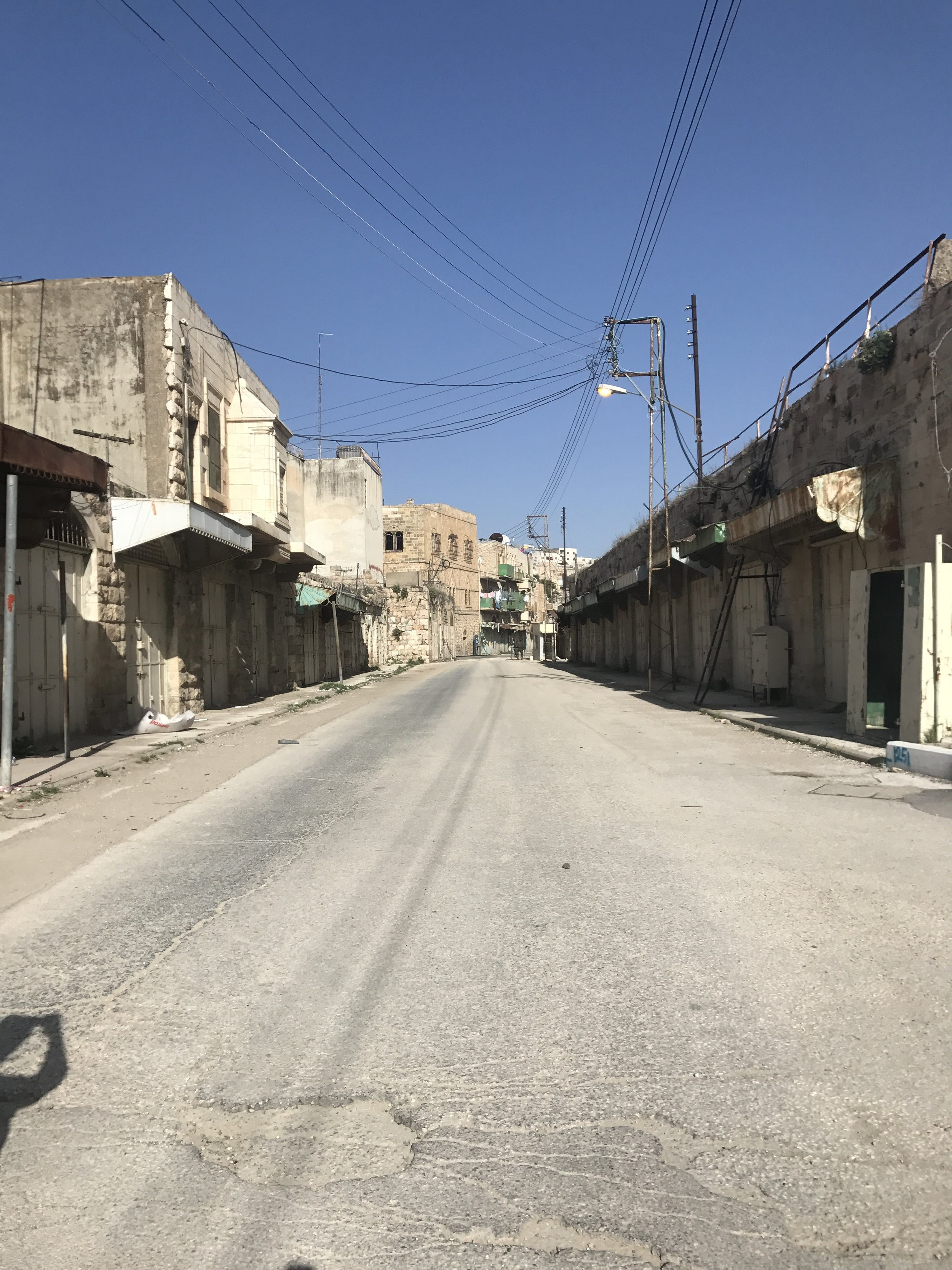 An occupied street in Hebron, Palestine. During my spring break, I had the amazing opportunity to visit Hebron, as well as Ramallah and Bethlehem. My roommate and I stayed in Jerusalem, and had guided tours of the Palestinian cities. Visiting Hebron was especially heartbreaking. It was virtually a ghost town and contains over a hundred checkpoints guarded by the Israeli military. The markets that are bustling in Jerusalem are reflected in the similar markets of Hebron that are virtually empty. The limits of Palestinian mobility were especially present here. Our Palestinian tour guide was unable to go certain areas and walk down certain roads, seemingly at random, while the American and European tourist were able to explore the city as they pleased. I pray for justice in Palestine. Photo credit: Samantha Manno, 2018
