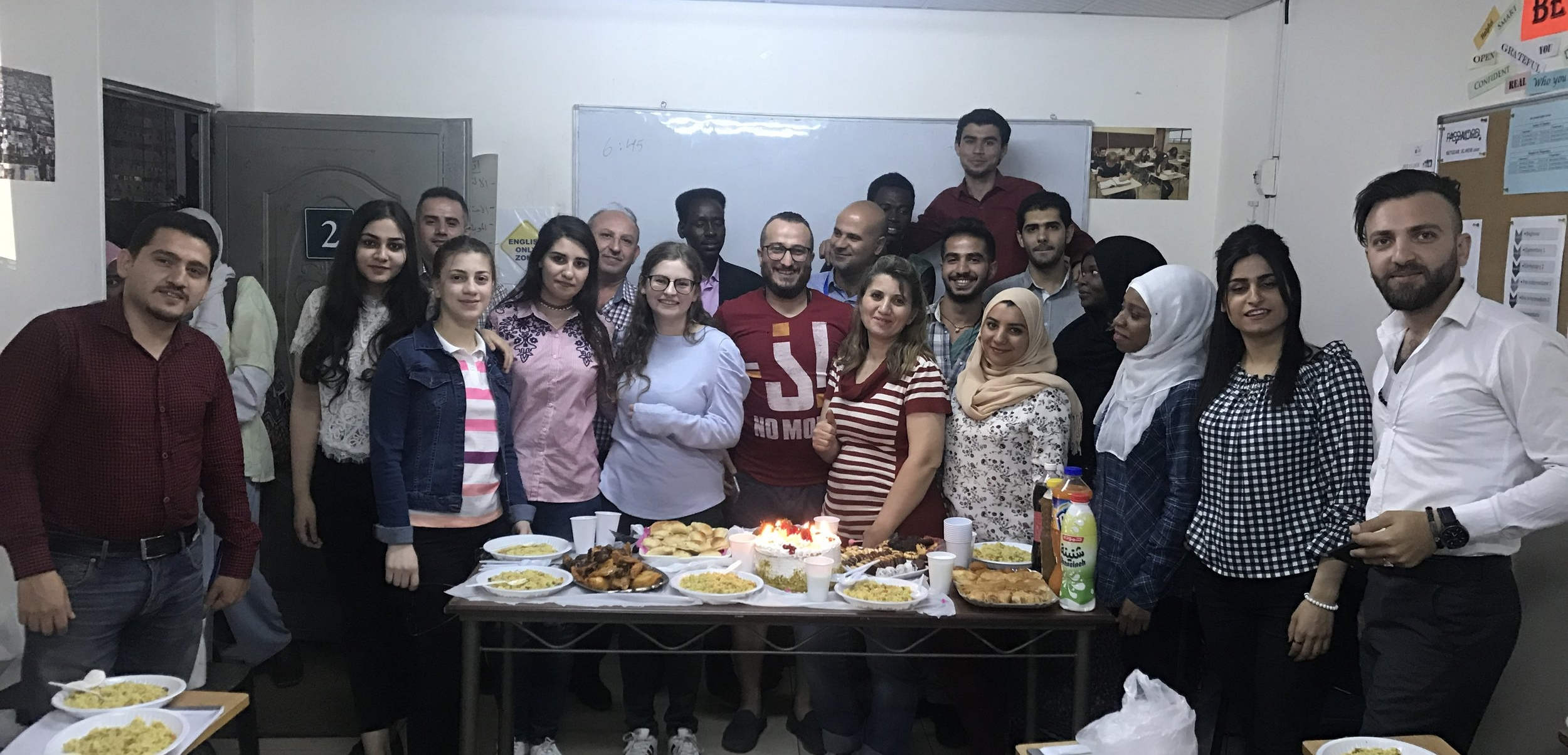 Me and the pre-intermediate class at JRS. During my time abroad, I was able to volunteer at Jesuit Refugee Services (JRS). It was by far my favorite and most fulfilling experience in Jordan. I shadowed two English teachers and helped teach two English classes, but I learned much more from the JRS community than they learned from me. I was nervous at first. I didn't know how people would react to some random American girl with virtually no teaching experience, let alone life experience, joining the class. However, they were the kindest, warmest, and most welcoming people I have ever had the pleasure to know. I will never forget the amazing people I met! Photo credit: Samantha Manno, 2018