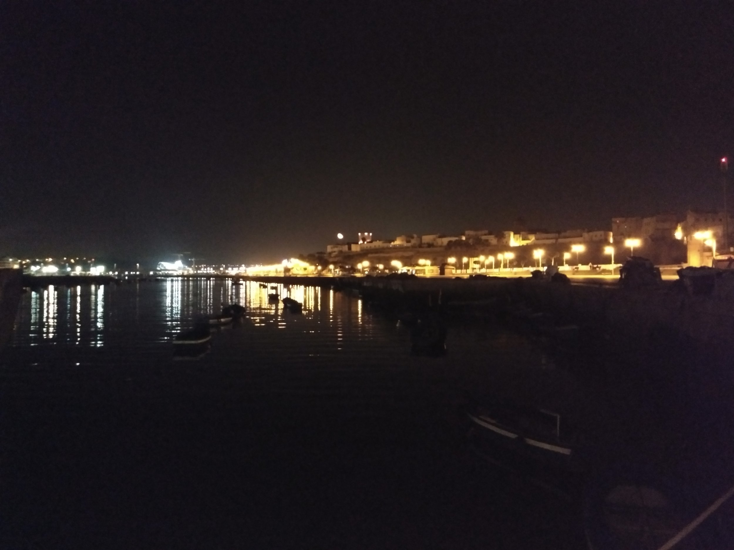 The view from our table. The restaurant is on a boat, docked in the river that divides Rabat and Sale. Photo credit: Silkes, 2018