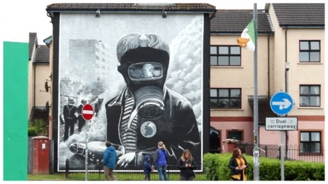 Mural wall memorializing Bogside riots, Derry-Londonderry. Photo credit: McCann, 2018